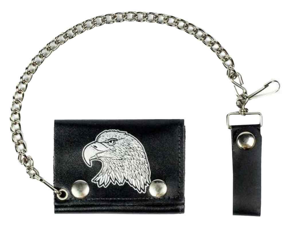 """New Mens Leather 6/"""" Antique Embossed American Bald Eagle Chain Wallet USA Made"""