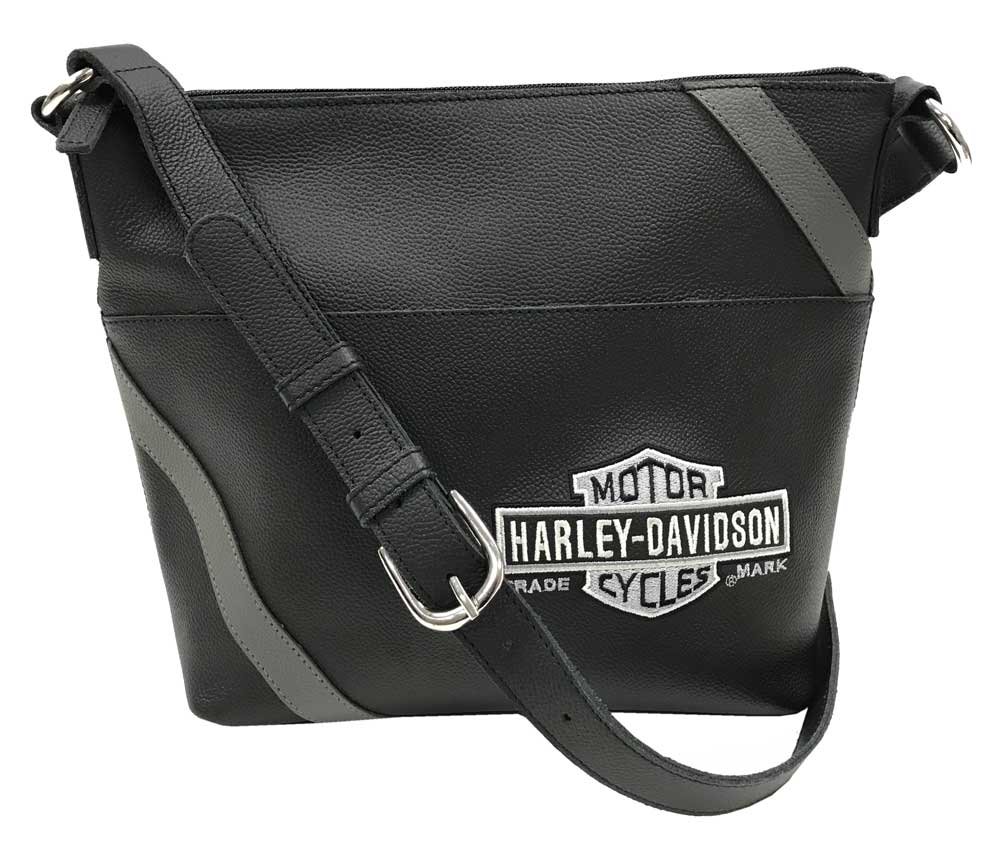 51b9109a111b Details about Harley-Davidson Women's Vintage B&S Embroidery Bucket Purse  VBS6214-GRYBLK