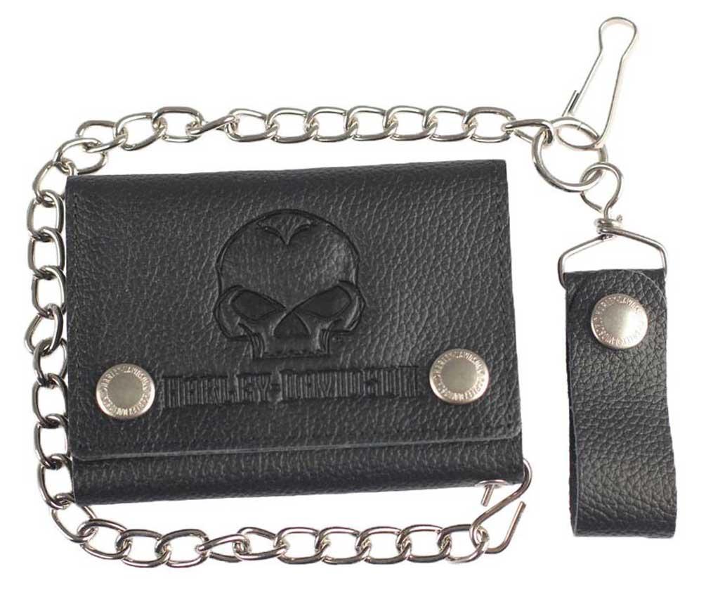 Harley-Davidson Mens Emboss Willie G Skull Leather Tri-Fold Wallet XML4752-BLACK
