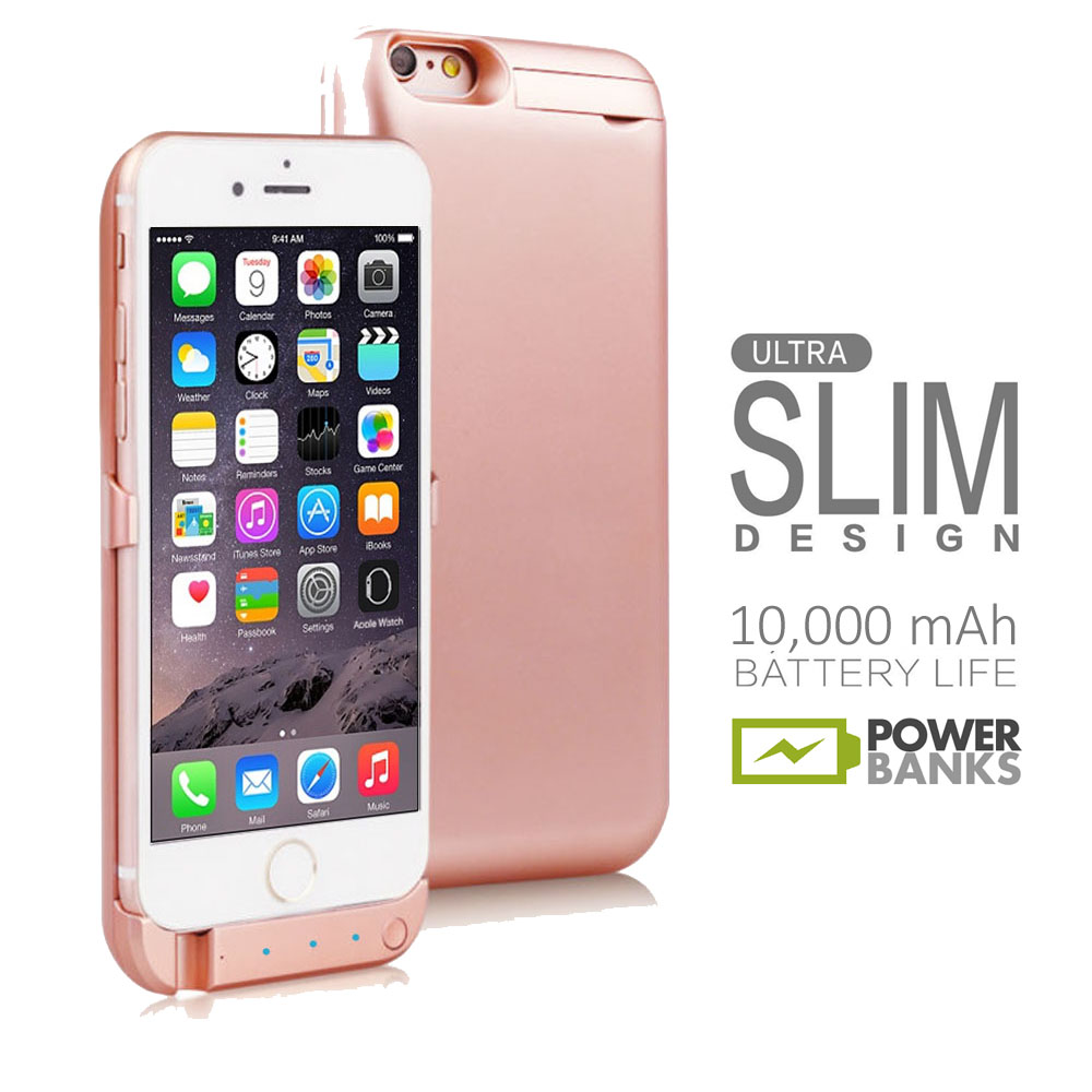 Details about iPhone 6s Rose Gold 10000mAh PowerBank Case Rechargeable Protective Battery Case