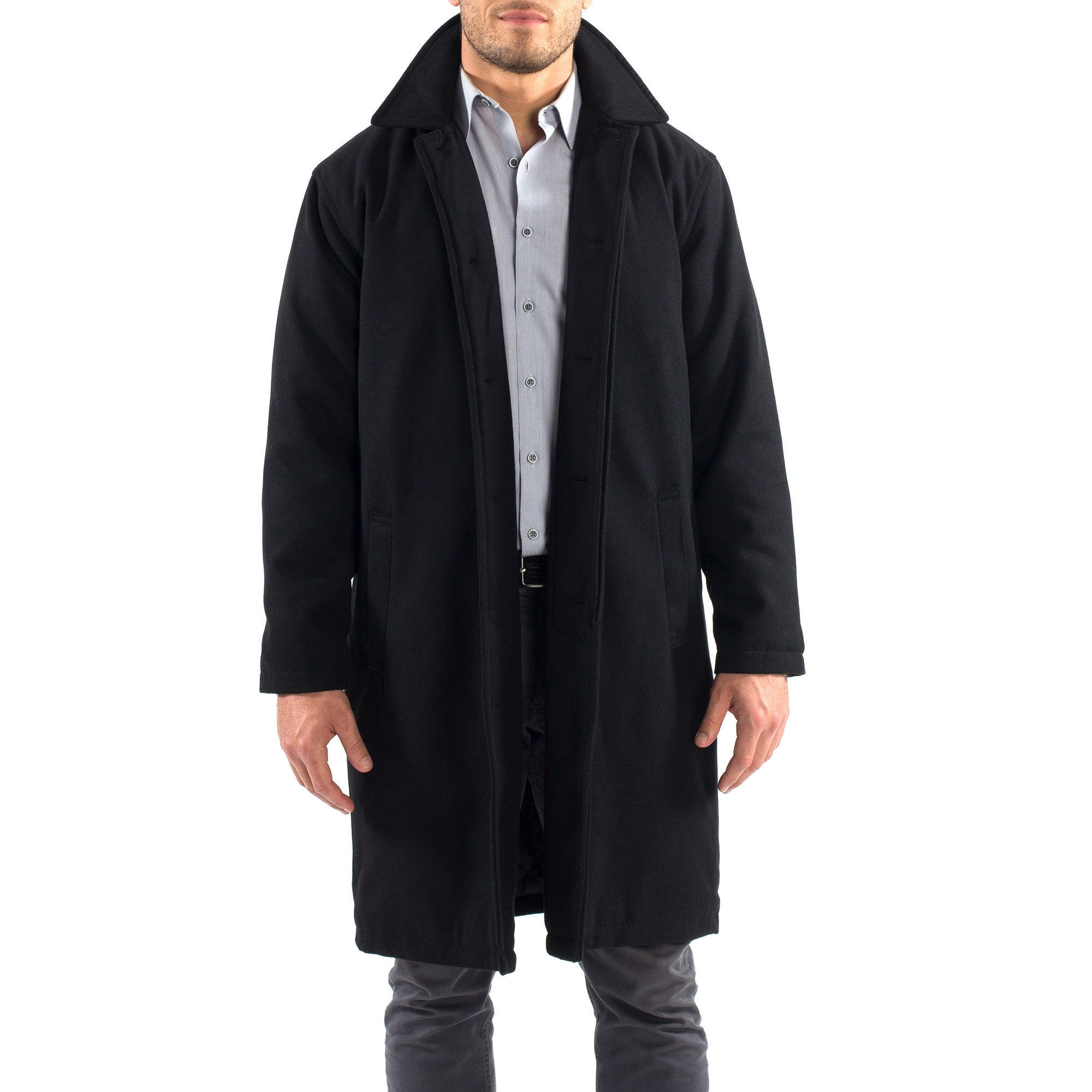 Alpine-Swiss-Mens-Zach-Knee-Length-Jacket-Top-Coat-Trench-Wool-Blend-Overcoat thumbnail 15