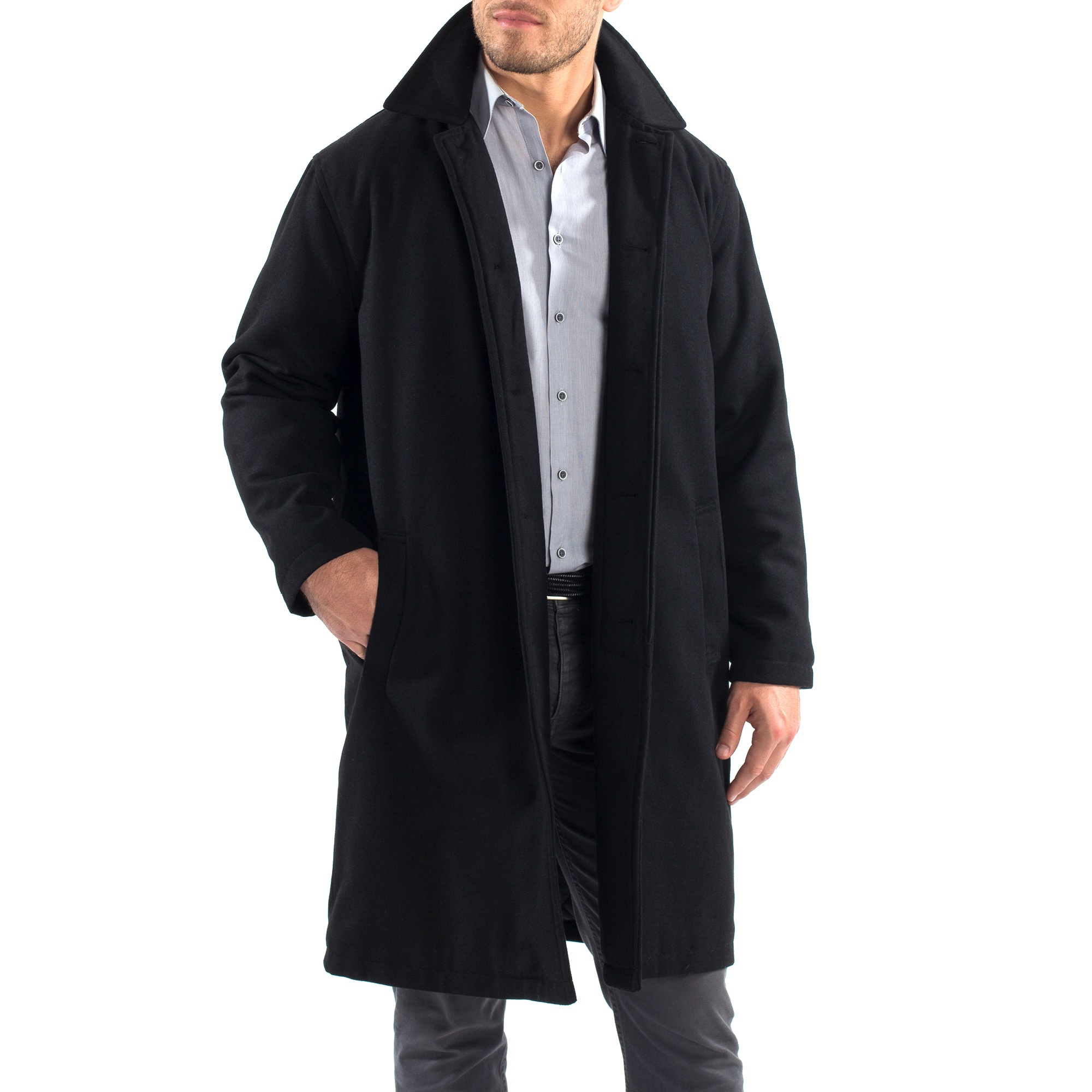 Alpine-Swiss-Mens-Zach-Knee-Length-Jacket-Top-Coat-Trench-Wool-Blend-Overcoat thumbnail 18
