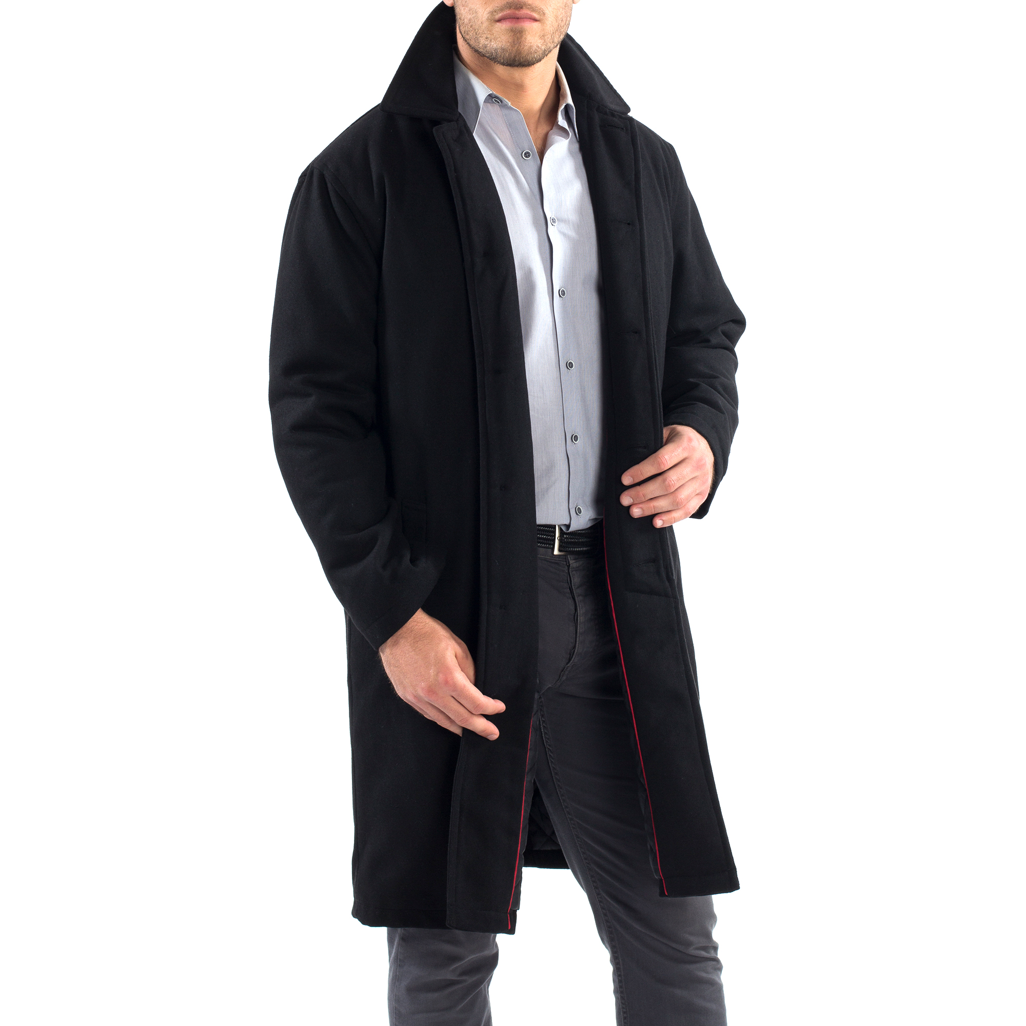 Alpine-Swiss-Mens-Zach-Knee-Length-Jacket-Top-Coat-Trench-Wool-Blend-Overcoat thumbnail 17