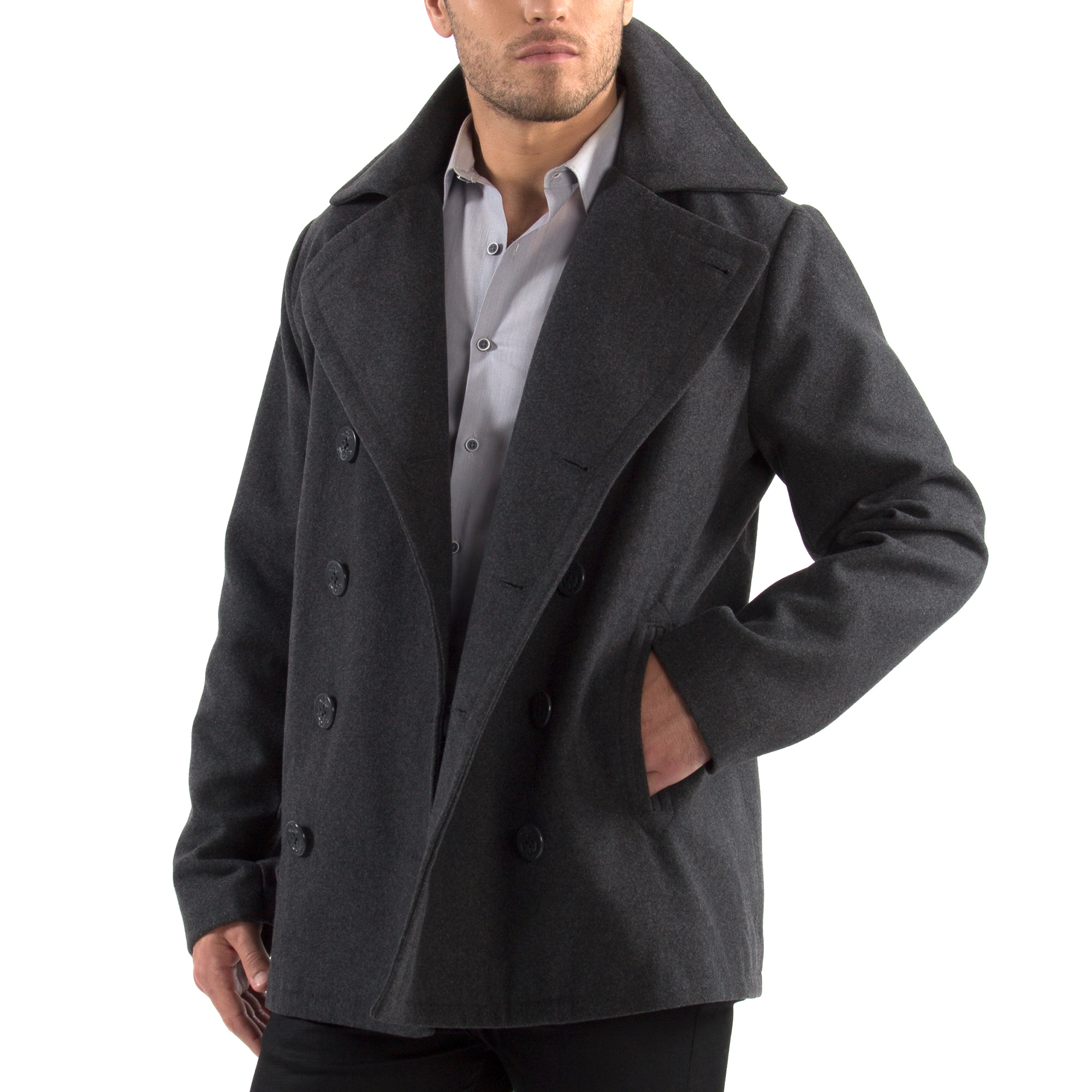 Alpine-Swiss-Mason-Mens-Wool-Blend-Pea-Coat-Jacket-Double-Breasted-Dress-Coat thumbnail 27