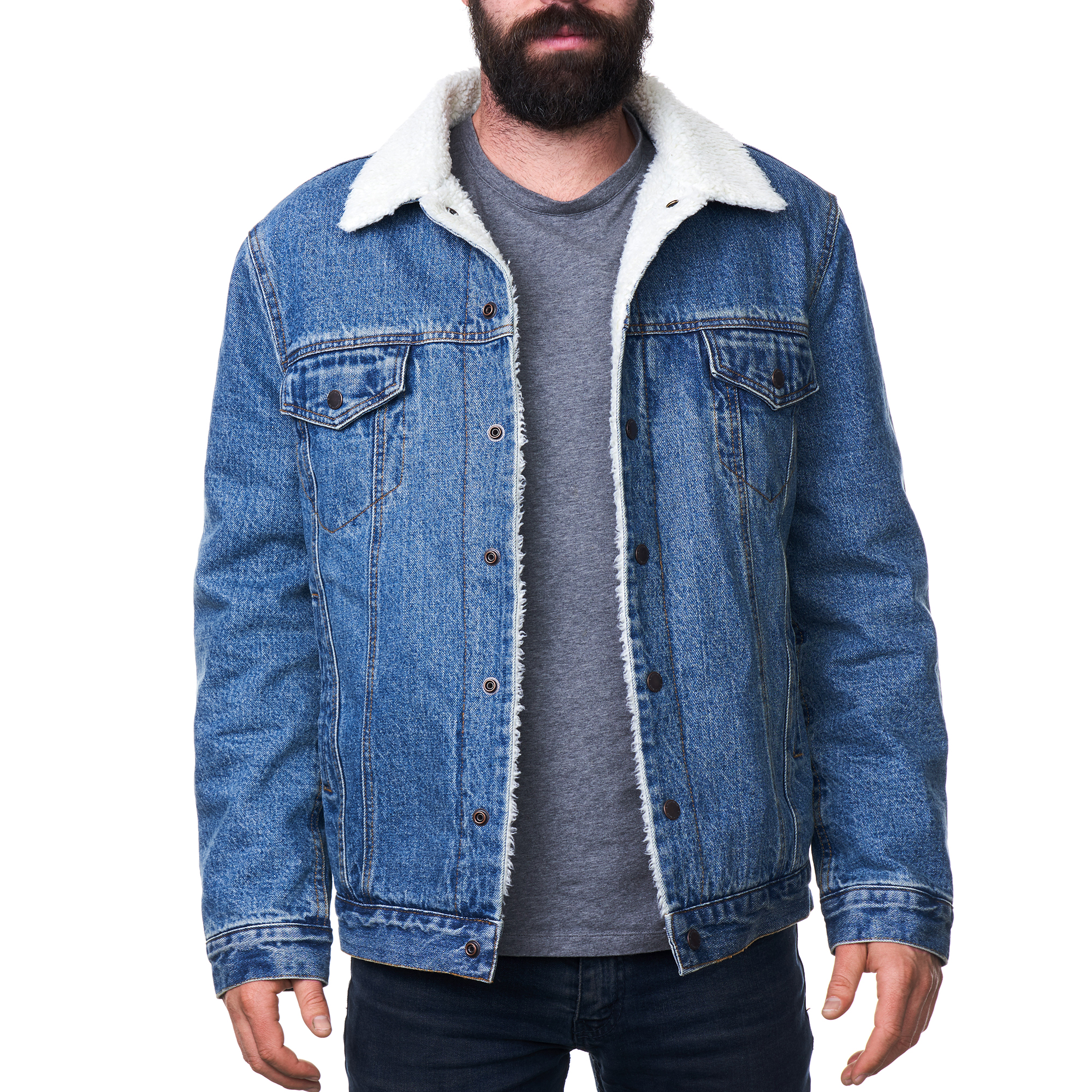 a2f9585185b Alpine Swiss Mens Sherpa Lined Denim Jacket Classic Button Up Jean Trucker  Coat