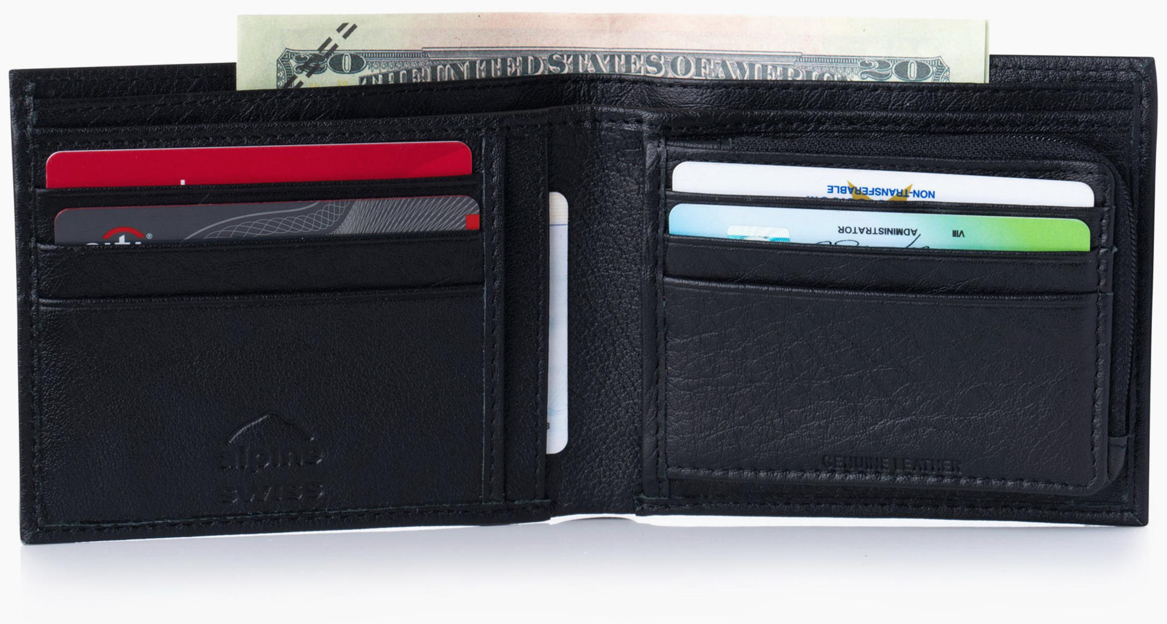acb14e6ea2a64 Alpine Swiss Mens Leather Wallet Zipper Coin Pocket 2 Billfold Multi ...