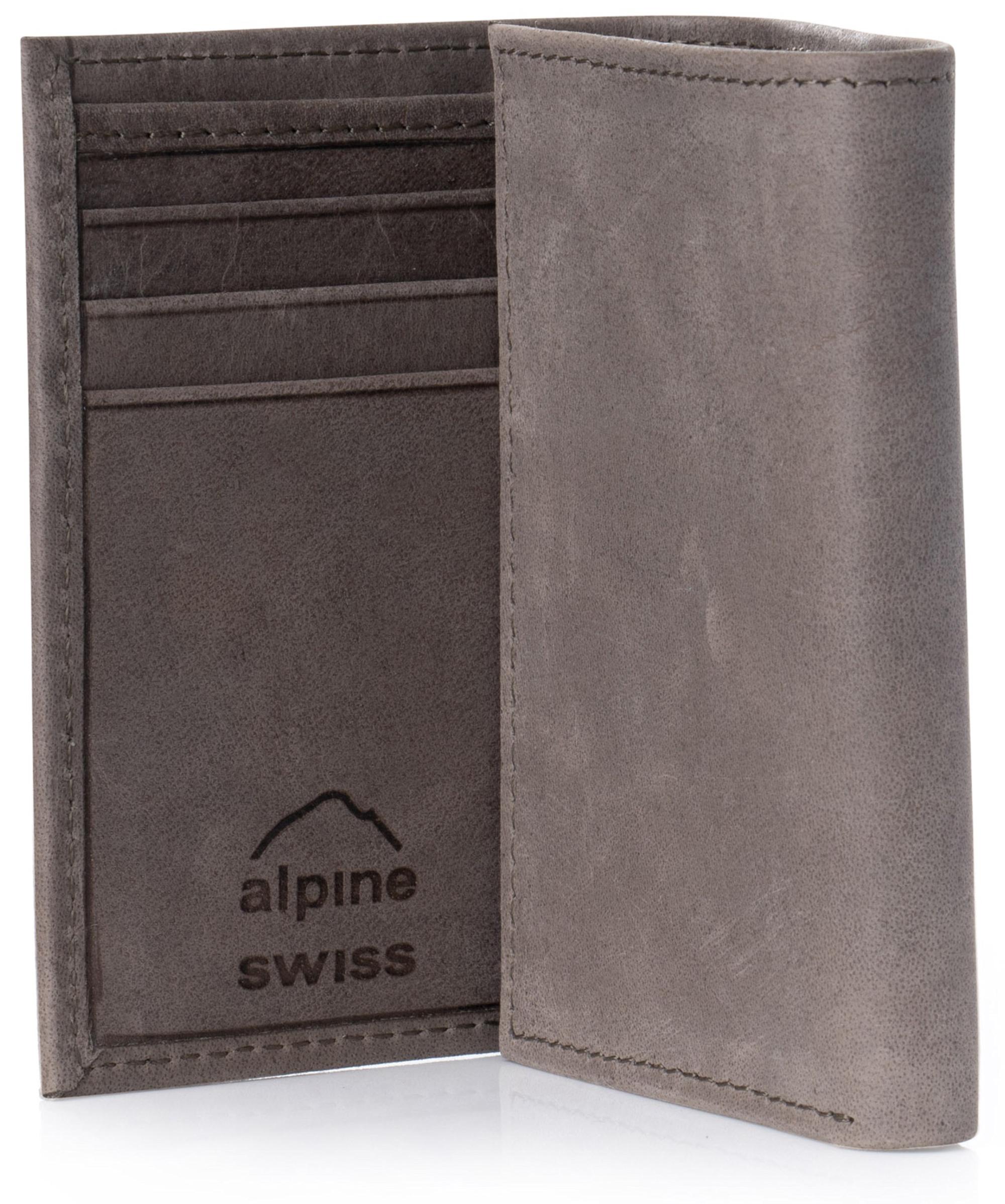 Alpine Swiss Mens Trifold Wallet Genuine Leather Card Case ID Window Billfold NW