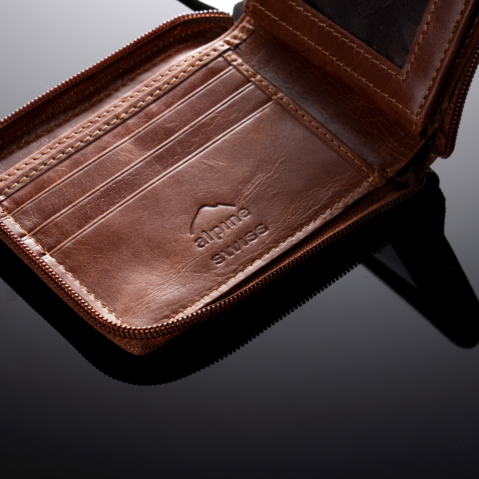 Mens Bifold Leather Wallet Front ID Center Flap with Secure Coin Pocket