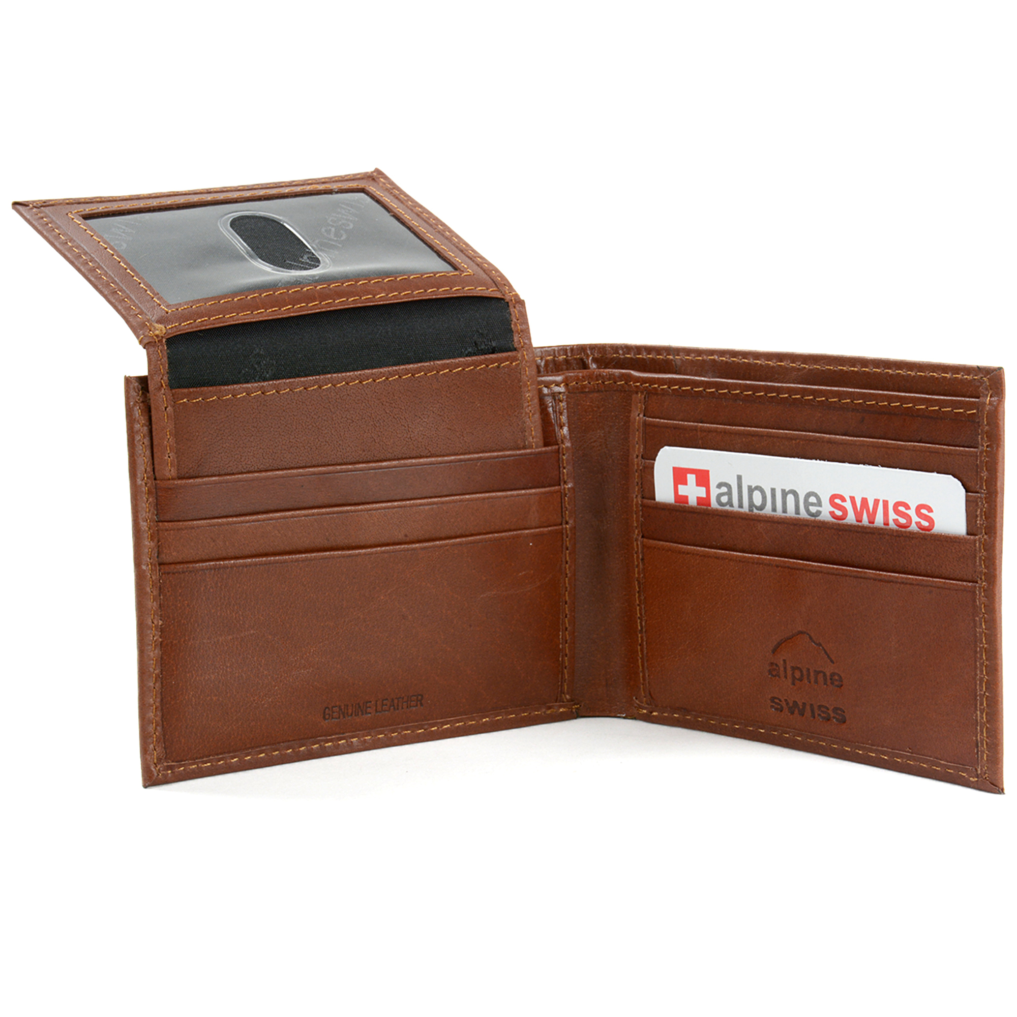 Alpine-Swiss-RFID-Blocking-Mens-Leather-Bifold-Wallet-Removable-ID-Card-Passcase thumbnail 23