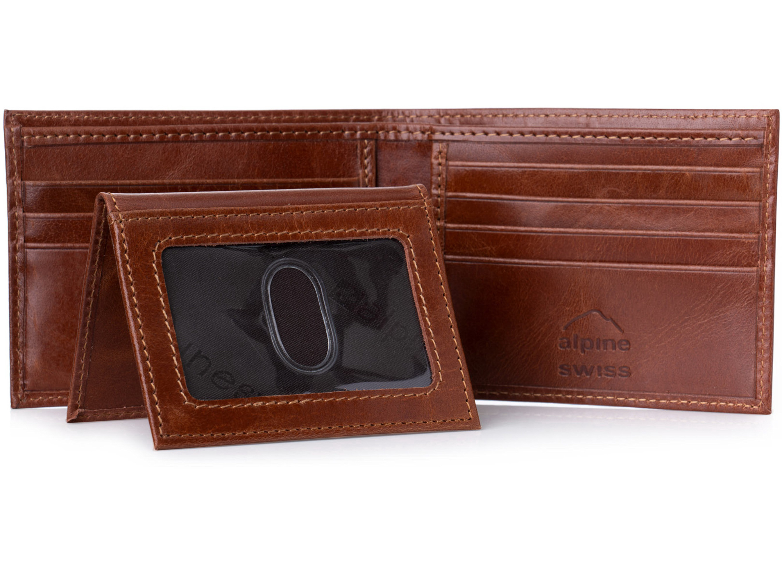 Alpine-Swiss-RFID-Blocking-Mens-Leather-Bifold-Wallet-Removable-ID-Card-Passcase thumbnail 24