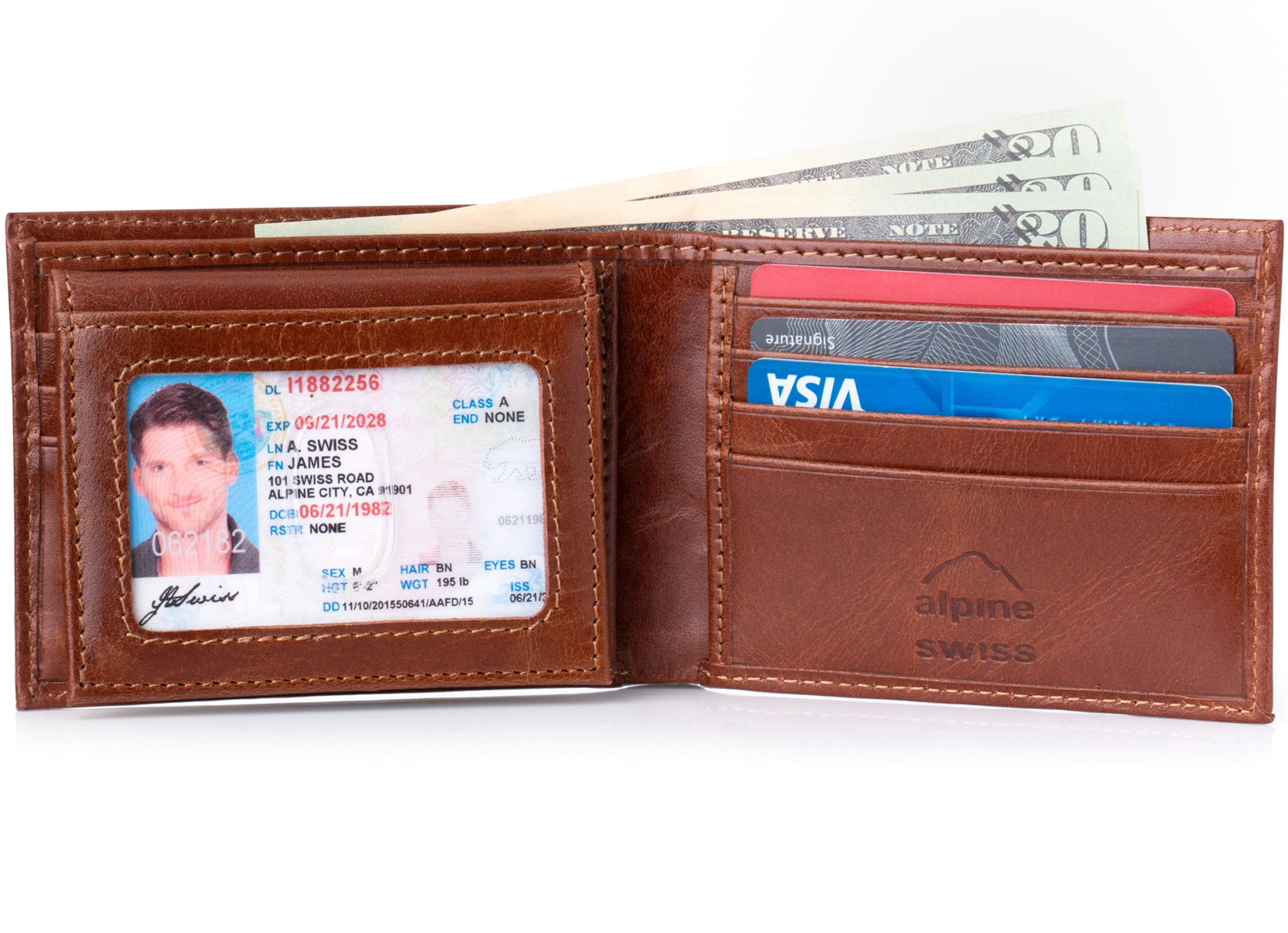 Alpine-Swiss-RFID-Blocking-Mens-Leather-Bifold-Wallet-Removable-ID-Card-Passcase thumbnail 22