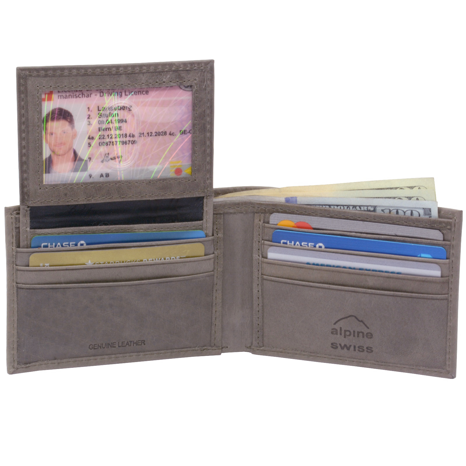 Alpine-Swiss-Mens-Wallet-Genuine-Leather-Removable-ID-Card-Case-Bifold-Passcase thumbnail 97