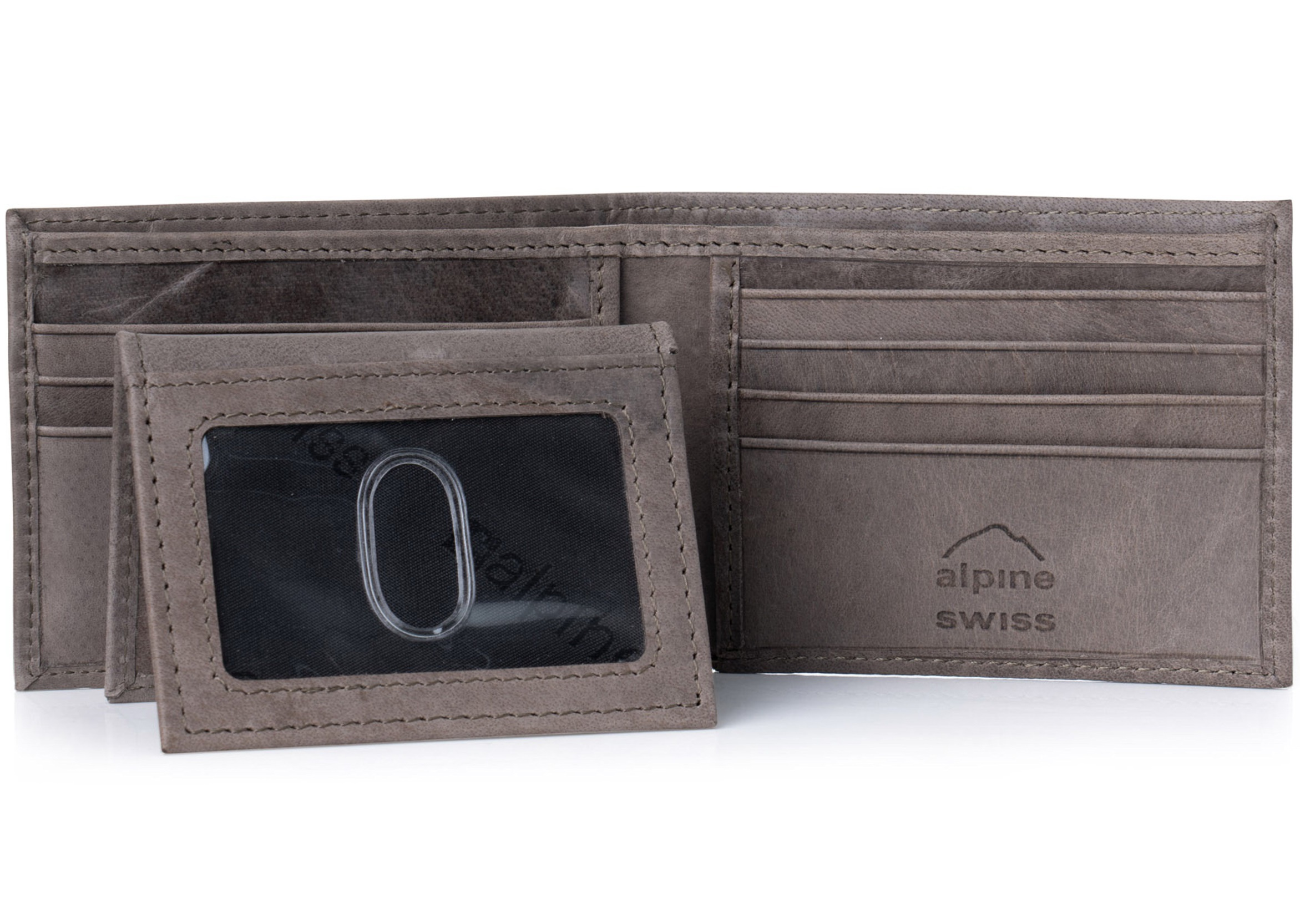 Alpine-Swiss-Mens-Wallet-Genuine-Leather-Removable-ID-Card-Case-Bifold-Passcase thumbnail 98