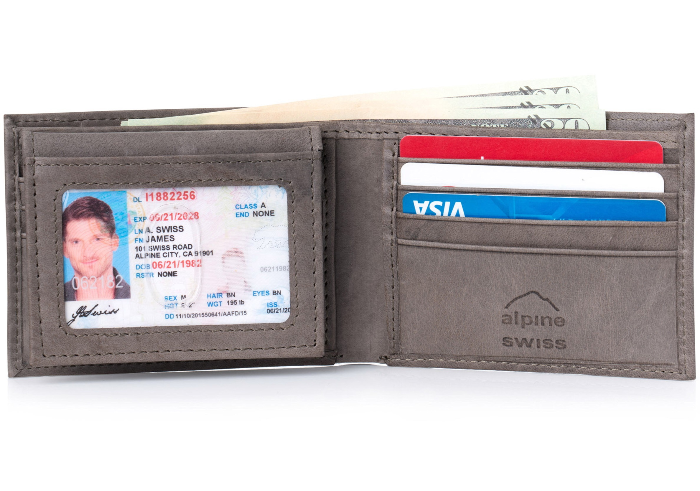 Alpine-Swiss-RFID-Blocking-Mens-Leather-Bifold-Wallet-Removable-ID-Card-Passcase thumbnail 31