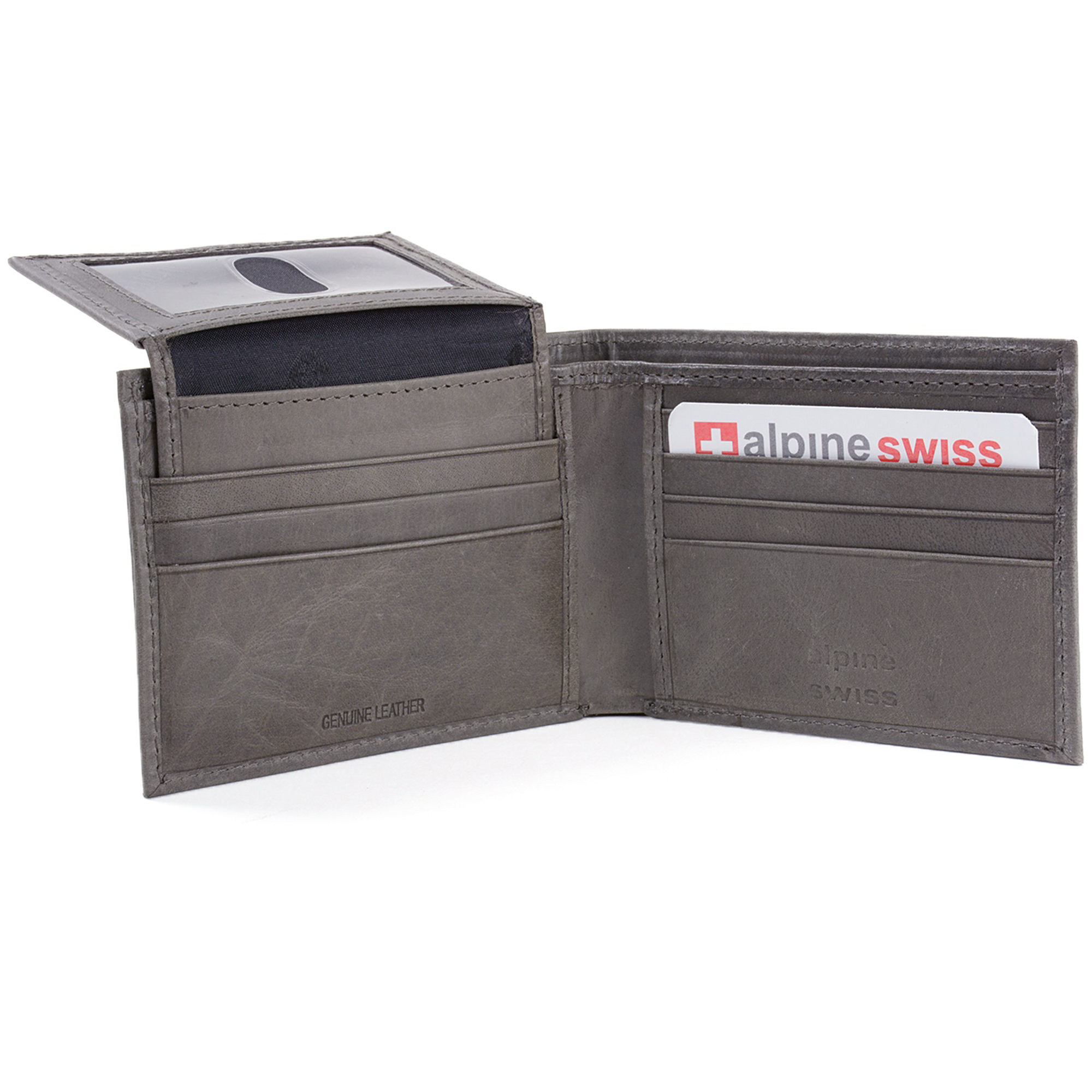 Alpine-Swiss-Mens-Wallet-Genuine-Leather-Removable-ID-Card-Case-Bifold-Passcase thumbnail 104