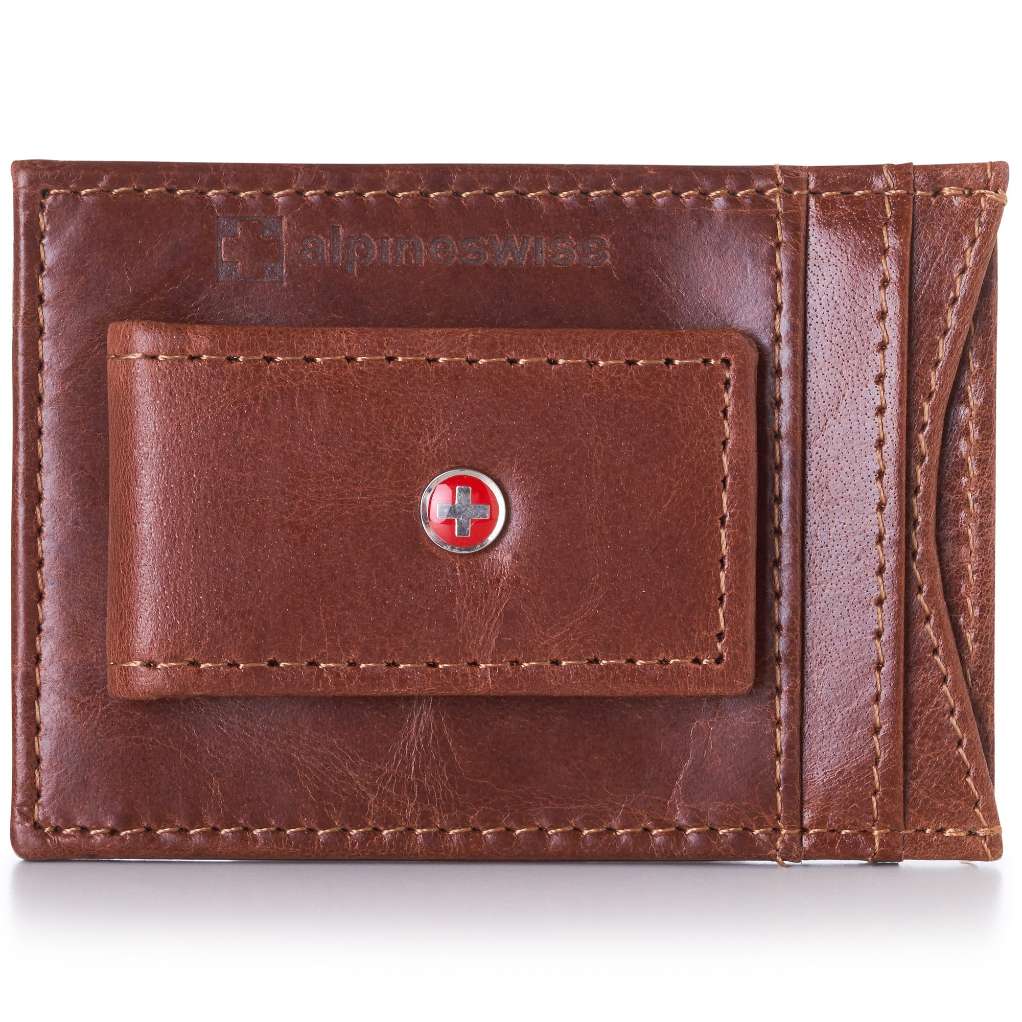 AlpineSwiss-Mens-Leather-Money-Clip-Magnet-Front-Pocket-Wallet-Slim-ID-Card-Case thumbnail 35