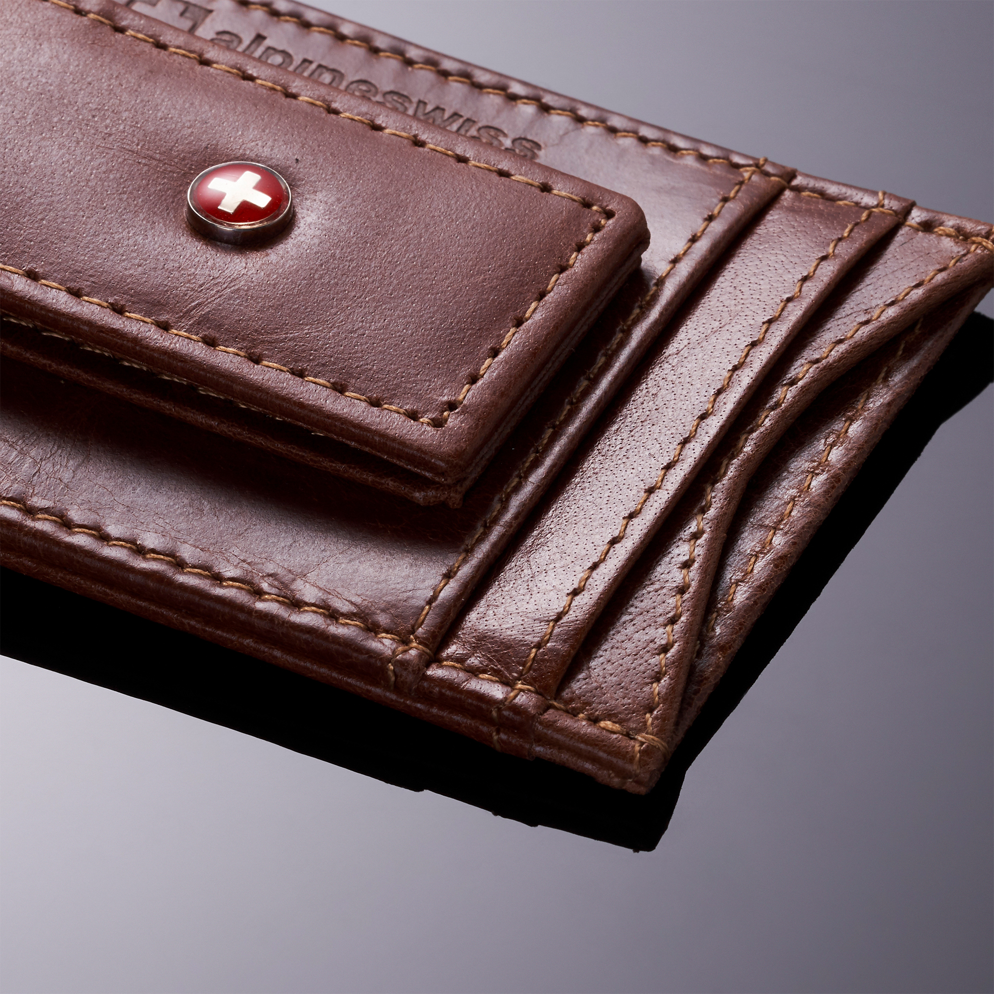 AlpineSwiss-Mens-Leather-Money-Clip-Magnet-Front-Pocket-Wallet-Slim-ID-Card-Case thumbnail 33