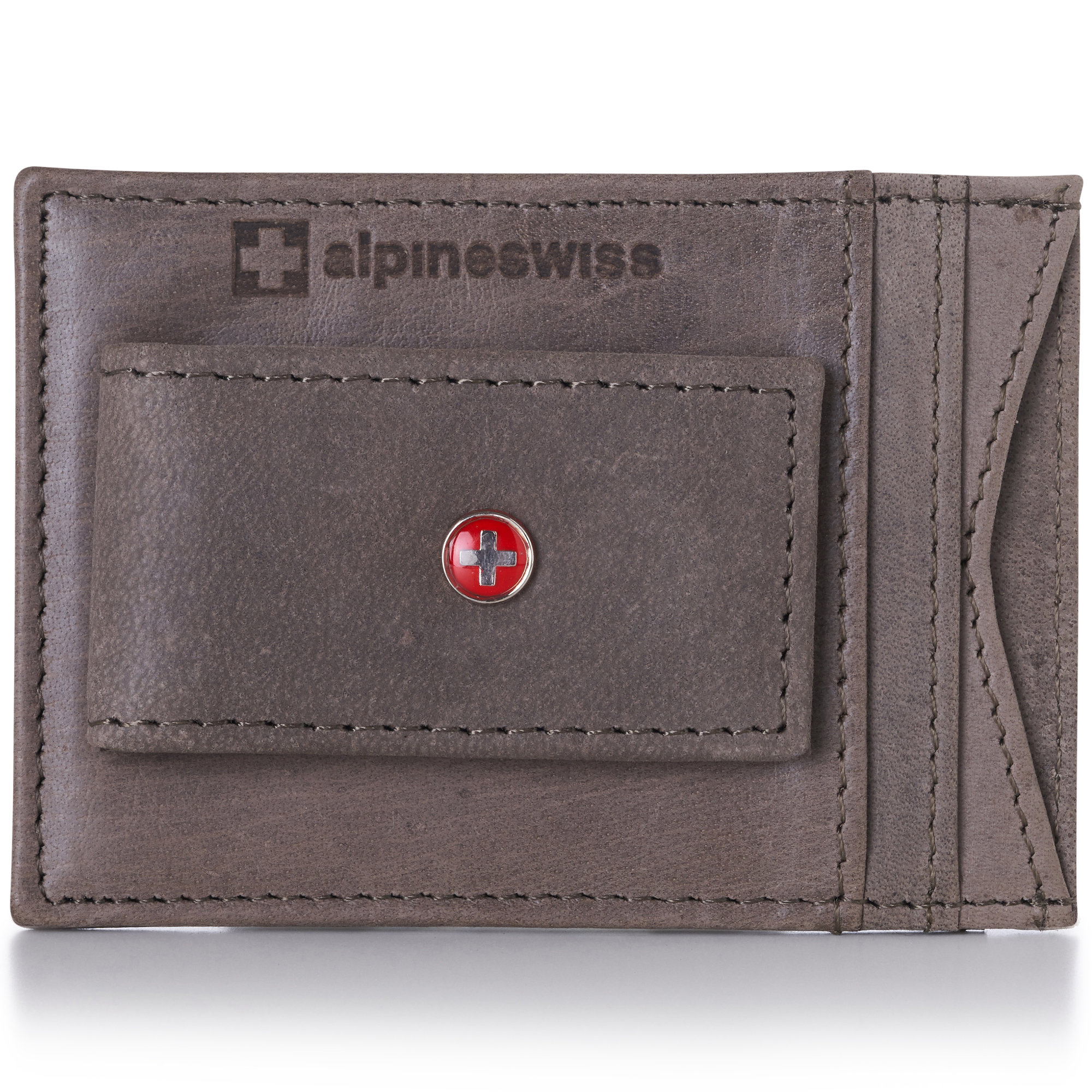 AlpineSwiss-Mens-Leather-Money-Clip-Magnet-Front-Pocket-Wallet-Slim-ID-Card-Case thumbnail 81