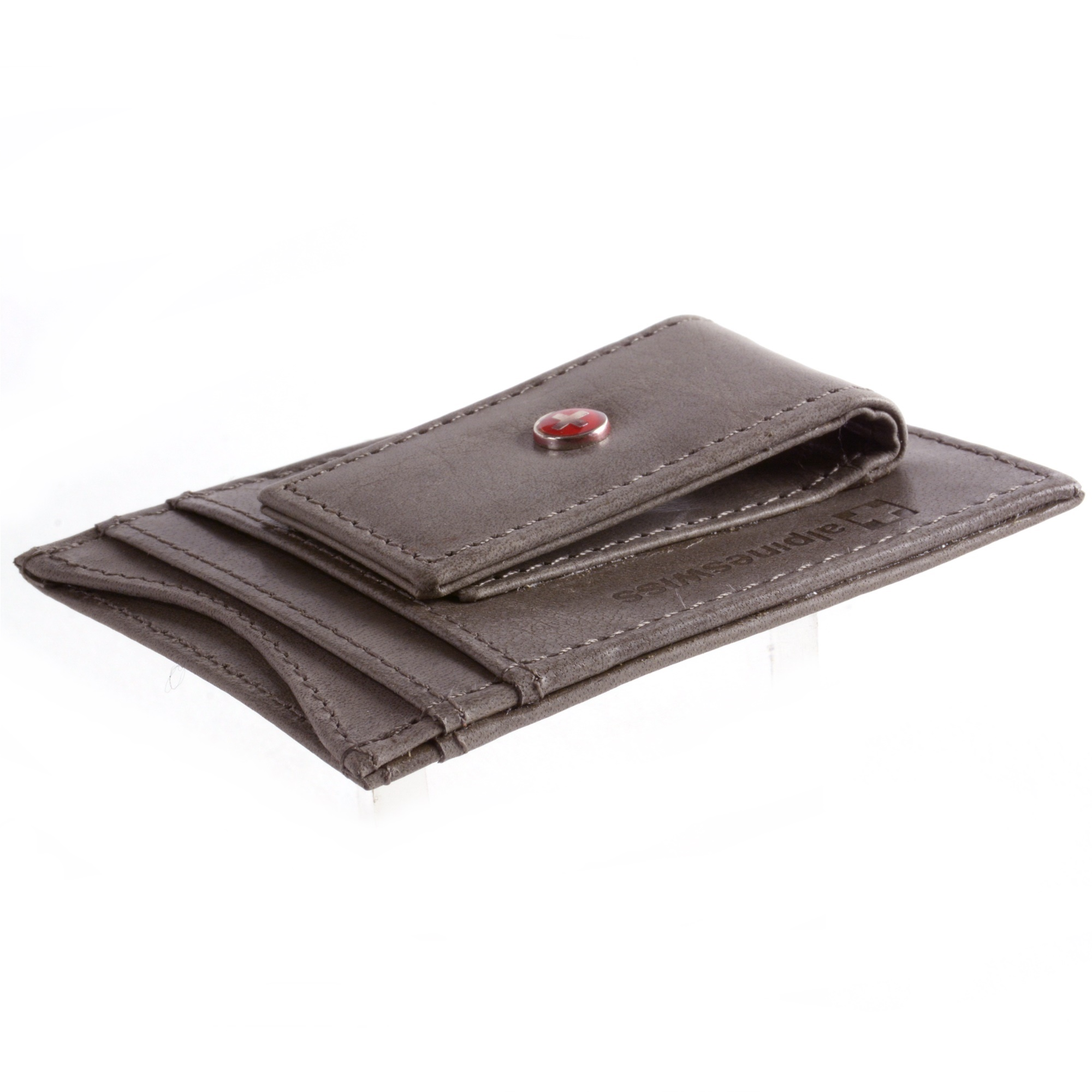 Alpine Swiss Mens Wallet Leather Money Clip Thin Slim Front Pocket Wallet Gray