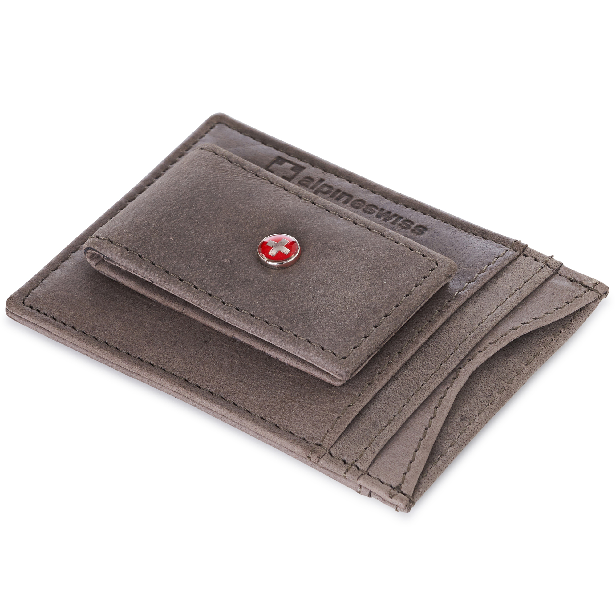 AlpineSwiss-Mens-Leather-Money-Clip-Magnet-Front-Pocket-Wallet-Slim-ID-Card-Case thumbnail 82