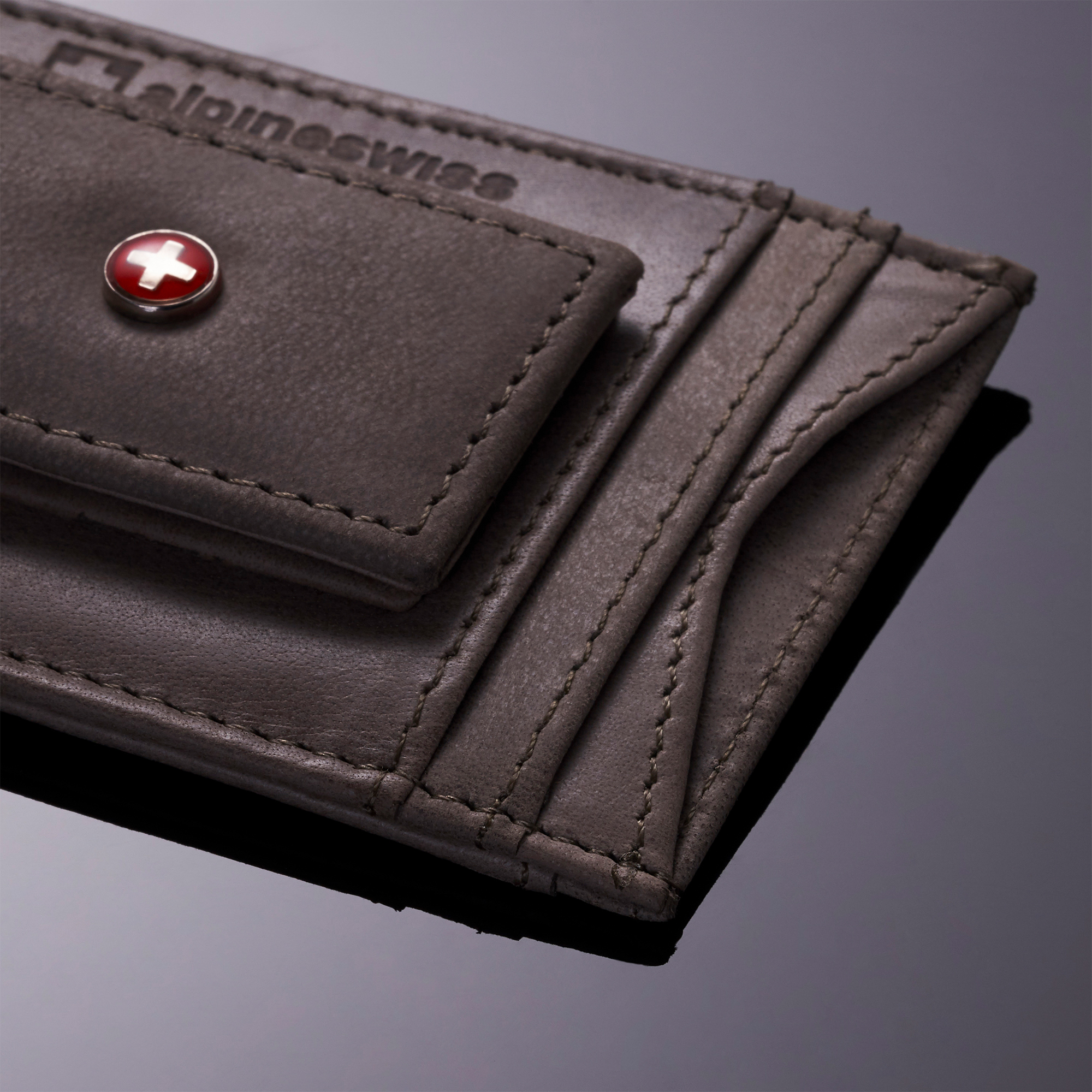 AlpineSwiss-Mens-Leather-Money-Clip-Magnet-Front-Pocket-Wallet-Slim-ID-Card-Case thumbnail 12