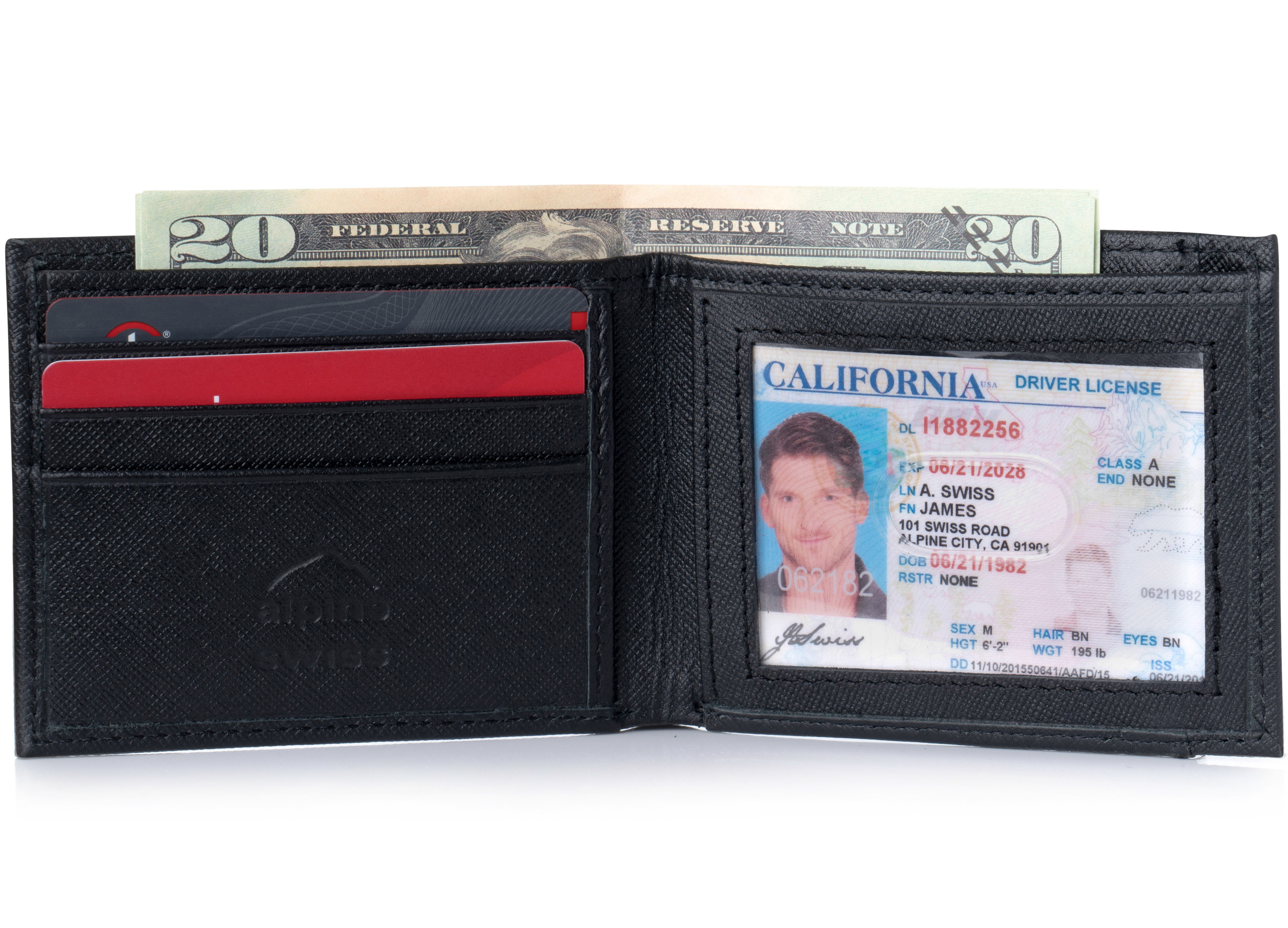 Alpine-Swiss-Mens-Thin-Bifold-Wallet-Top-Grain-Leather-EZ-Access-Outer-Card-Slot thumbnail 44