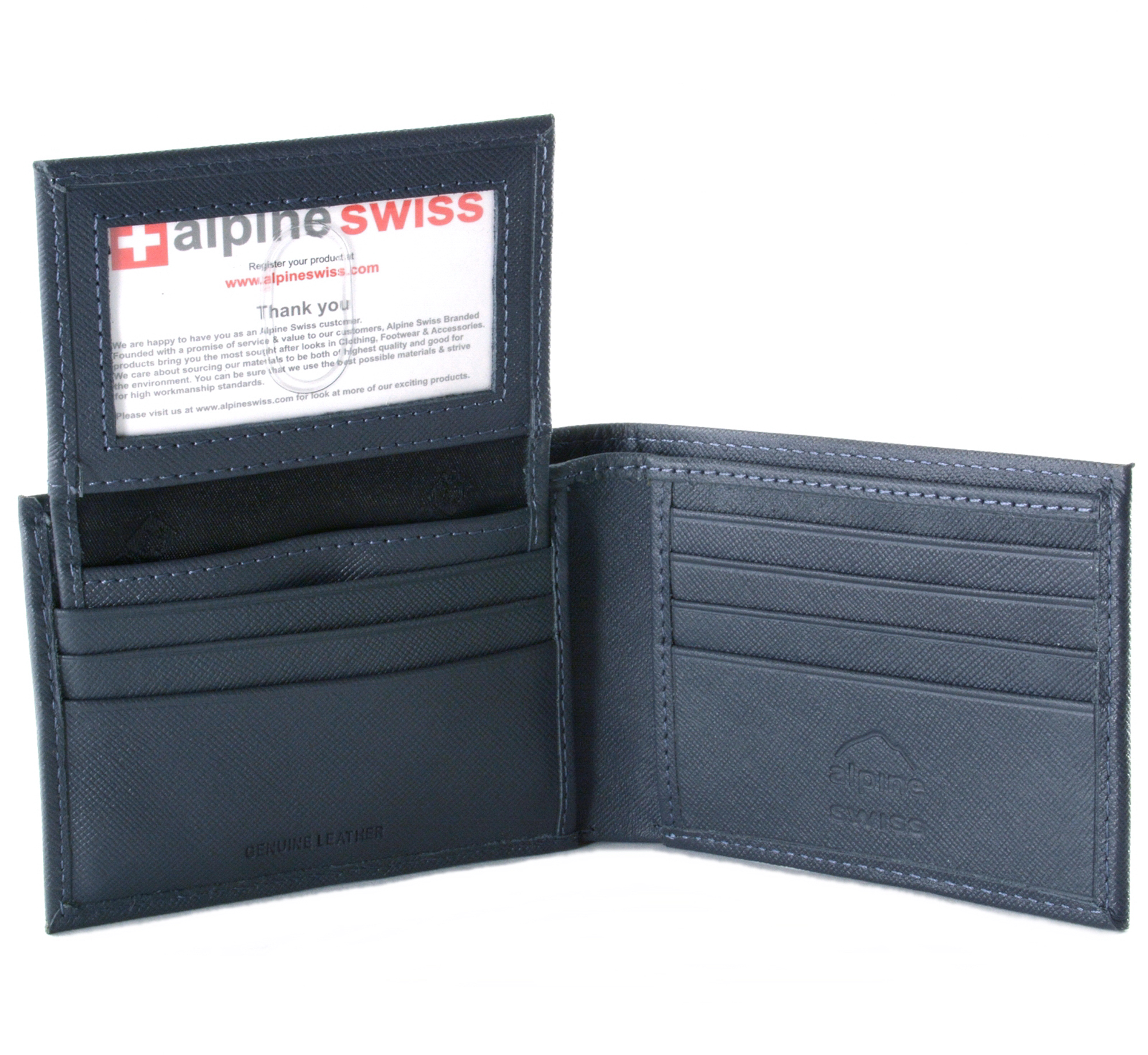 Alpine-Swiss-Mens-Wallet-Genuine-Leather-Removable-ID-Card-Case-Bifold-Passcase thumbnail 83