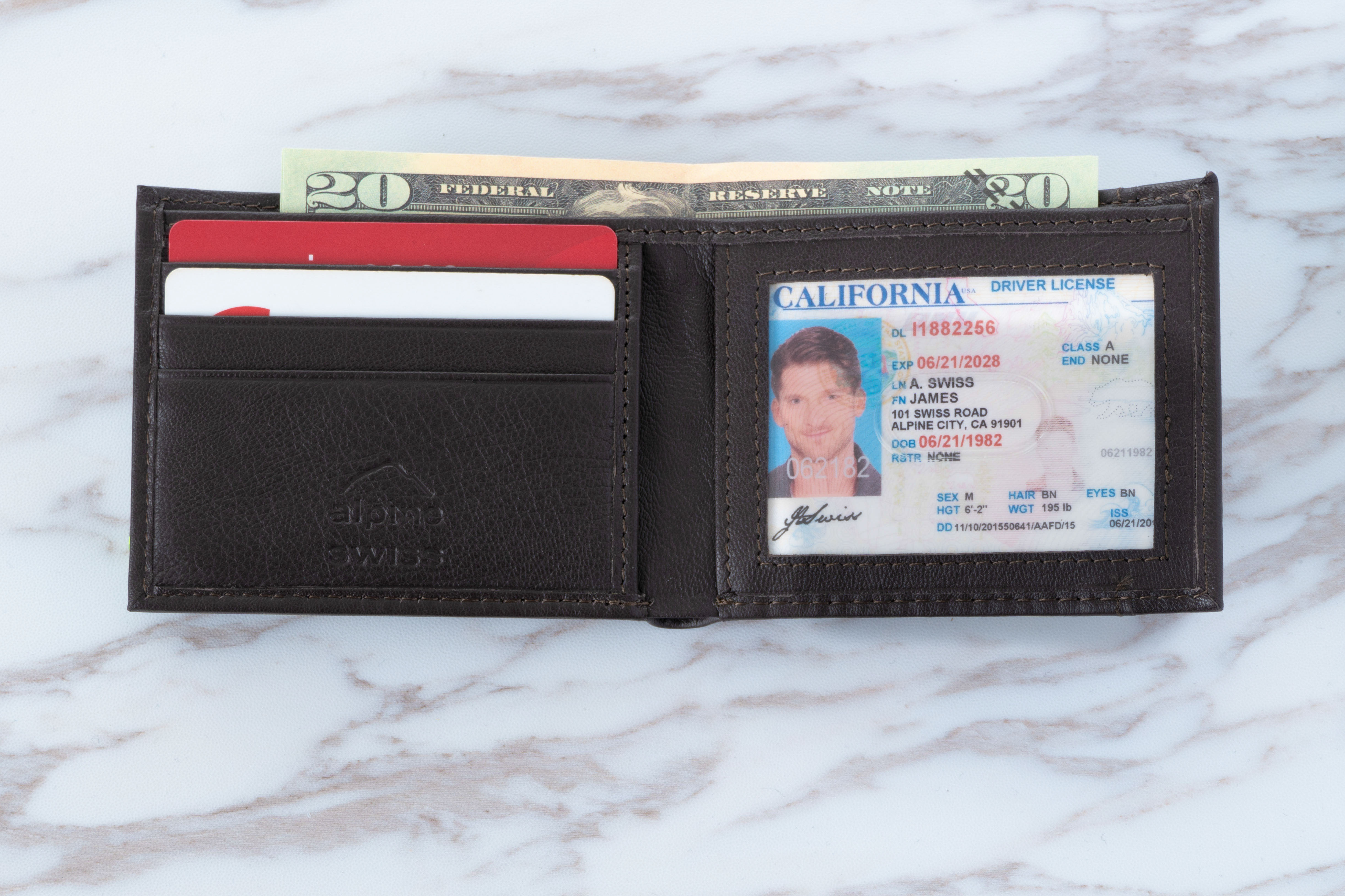 Alpine-Swiss-Mens-Thin-Bifold-Wallet-Top-Grain-Leather-EZ-Access-Outer-Card-Slot thumbnail 41