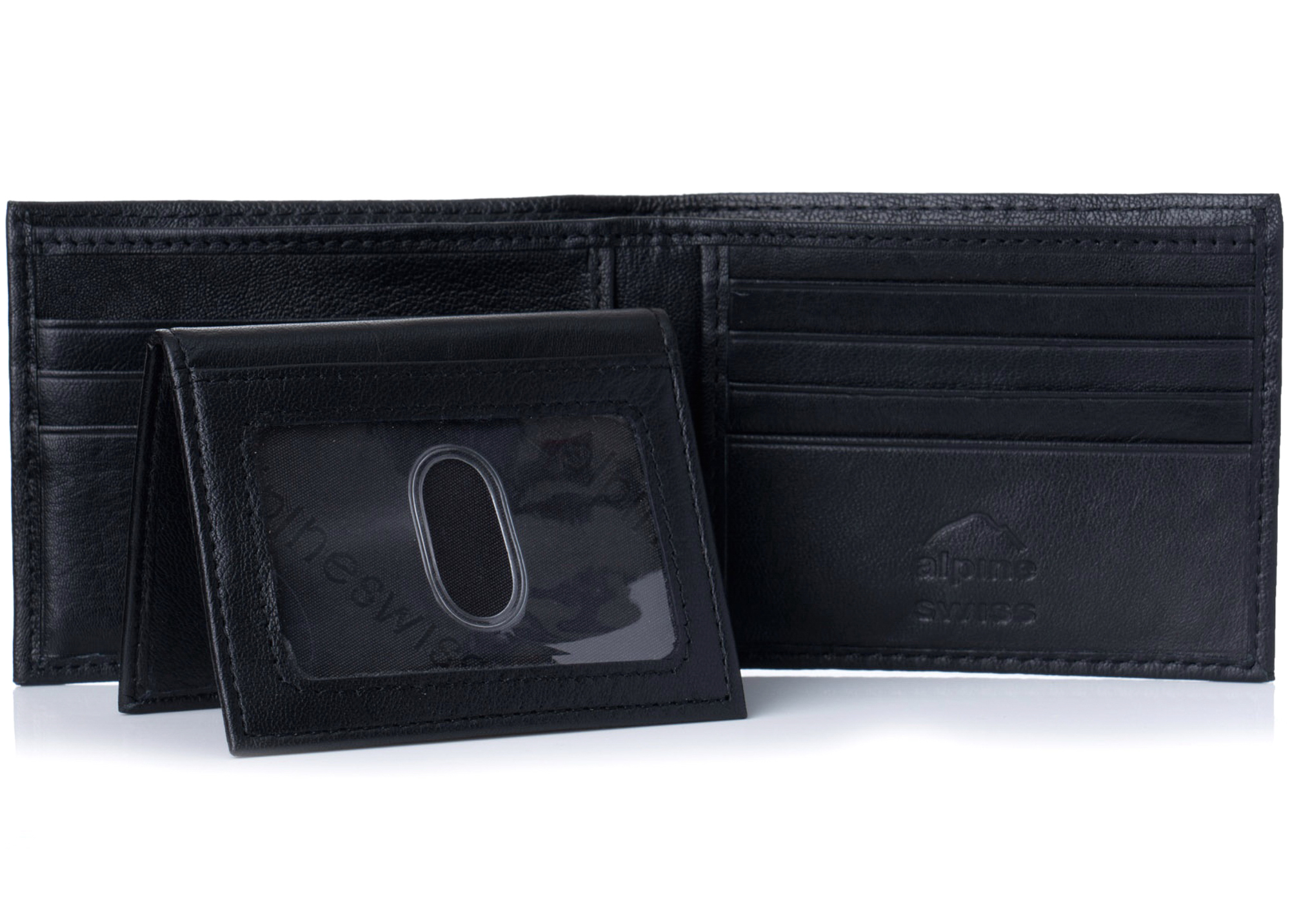 Alpine-Swiss-RFID-Blocking-Mens-Leather-Bifold-Wallet-Removable-ID-Card-Passcase thumbnail 15