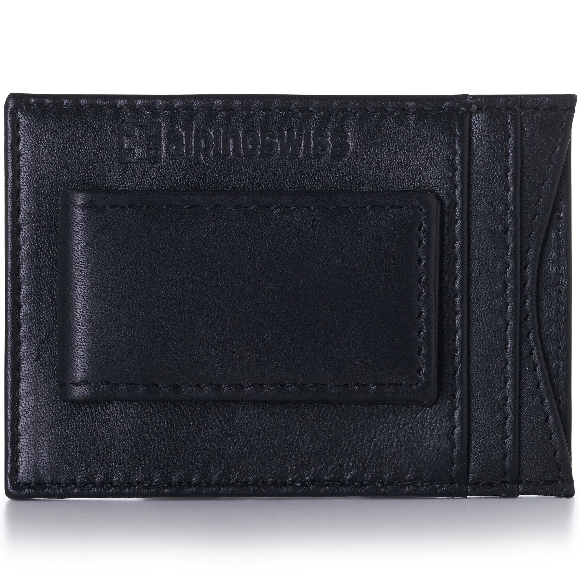 Alpine-Swiss-Mens-Leather-Wallet-Money-Clip-Bifold-Trifold-Front-Pocket-Wallets