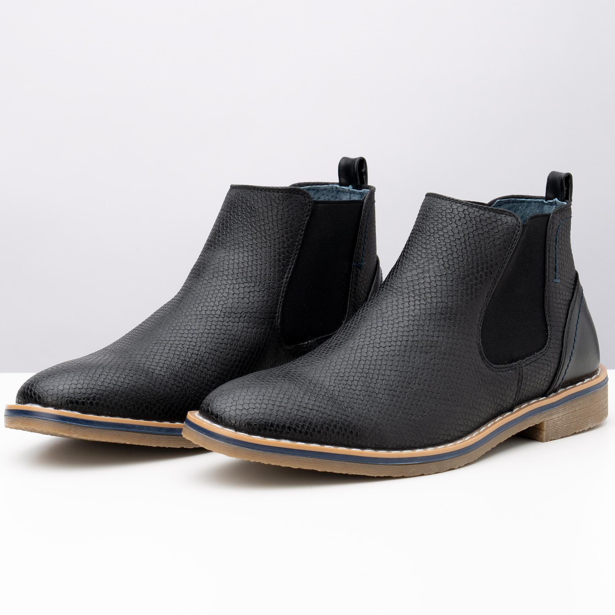 Alpine-Swiss-Mens-Nash-Chelsea-Boots-Snakeskin-Ankle-Boot-Genuine-Leather-Lined miniature 16