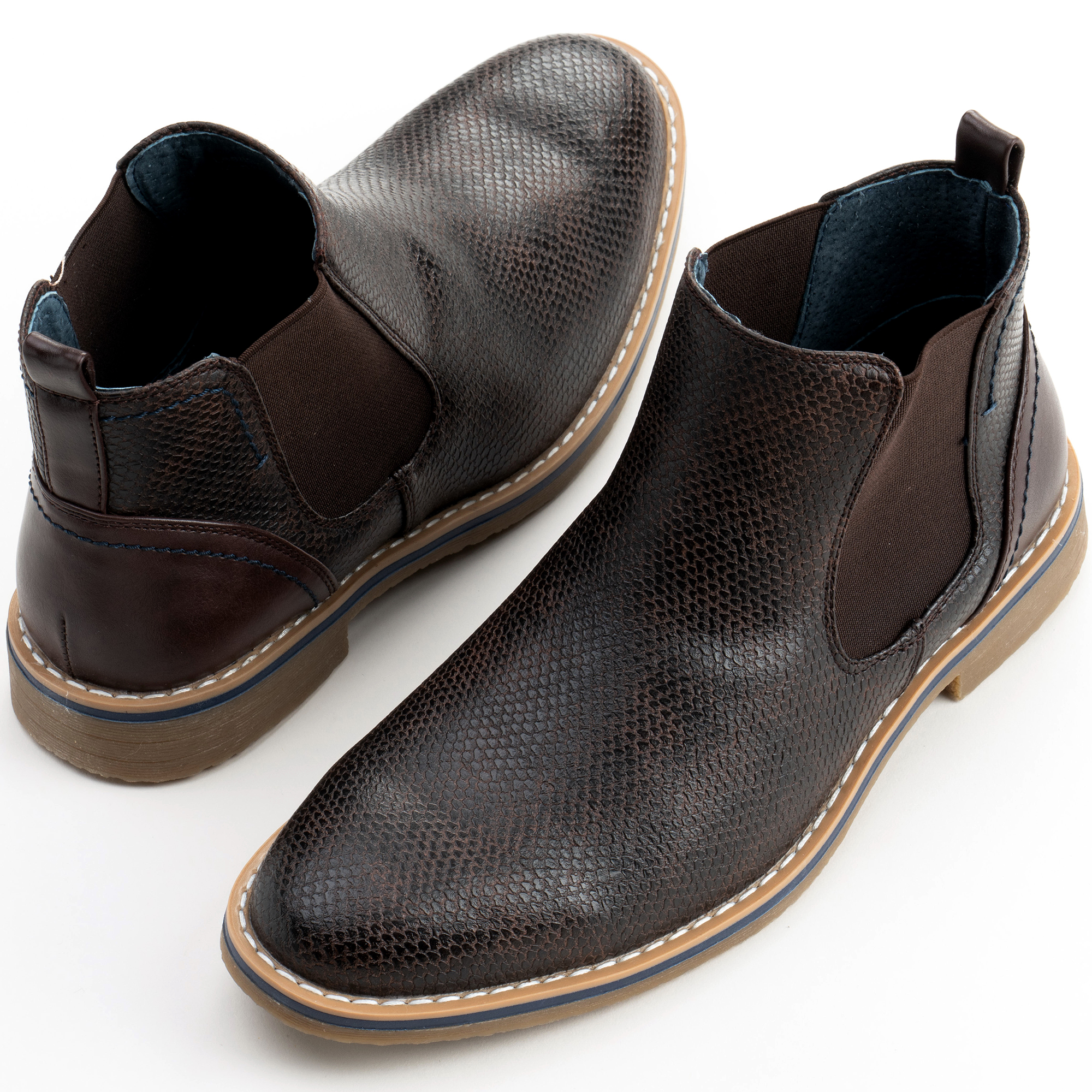 Alpine-Swiss-Mens-Nash-Chelsea-Boots-Snakeskin-Ankle-Boot-Genuine-Leather-Lined miniature 21