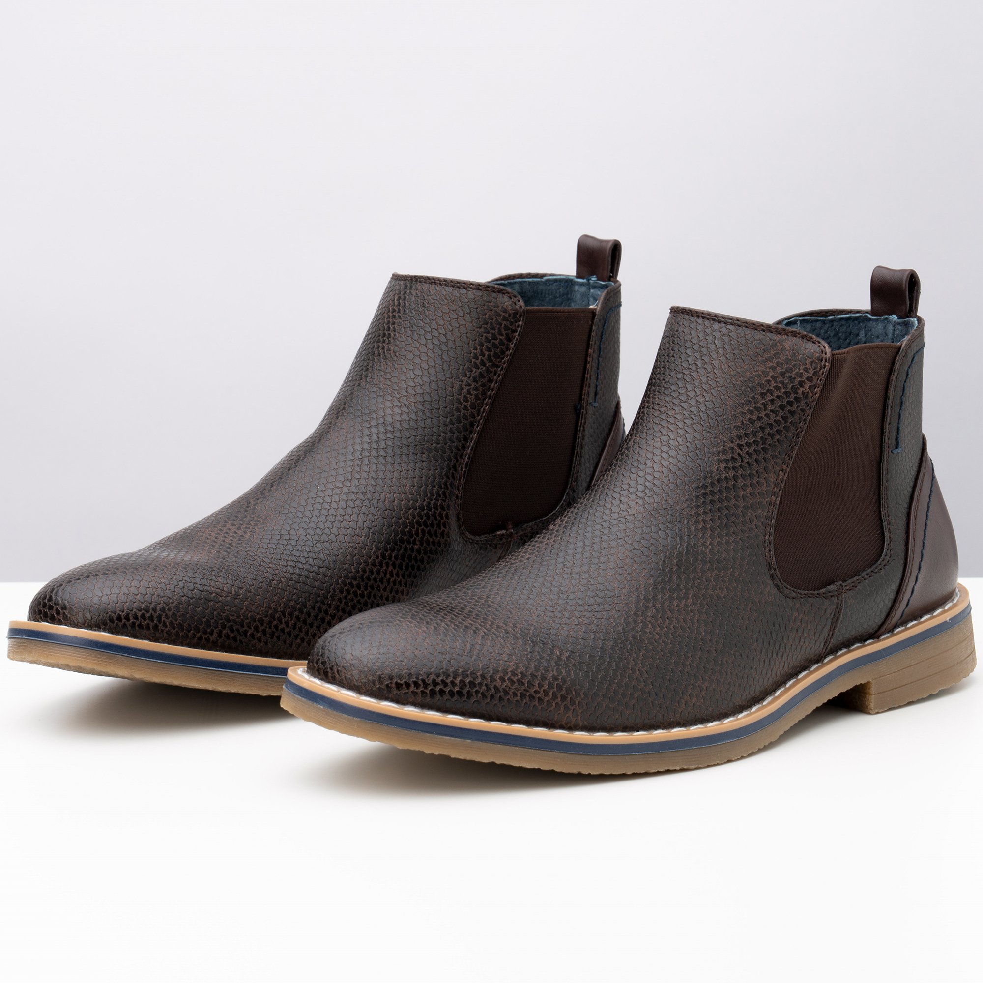 Alpine-Swiss-Mens-Nash-Chelsea-Boots-Snakeskin-Ankle-Boot-Genuine-Leather-Lined miniature 23