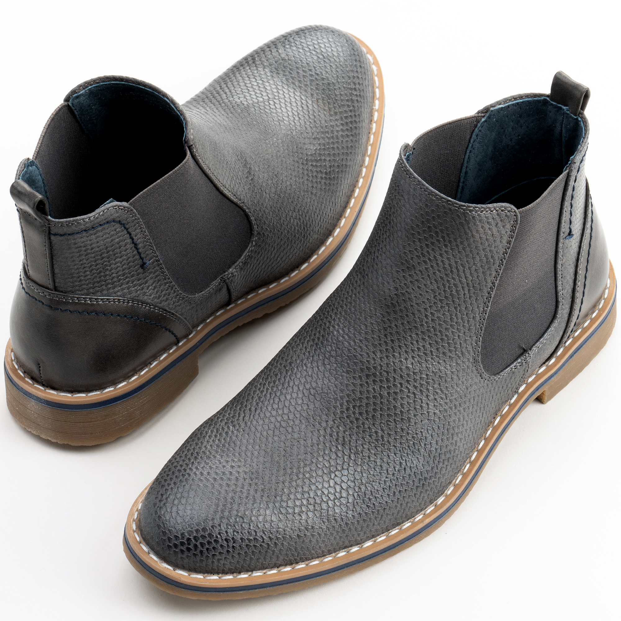 Alpine-Swiss-Mens-Nash-Chelsea-Boots-Snakeskin-Ankle-Boot-Genuine-Leather-Lined miniature 28