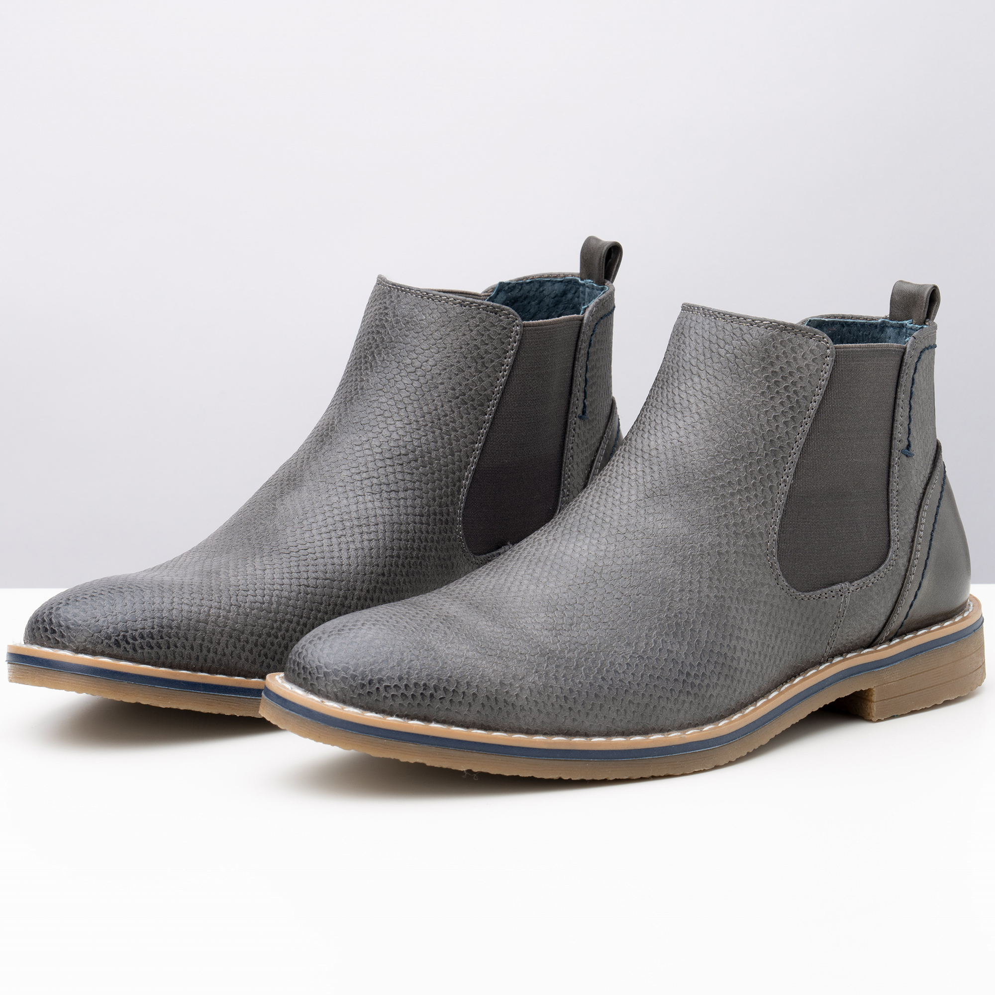 Alpine-Swiss-Mens-Nash-Chelsea-Boots-Snakeskin-Ankle-Boot-Genuine-Leather-Lined miniature 30