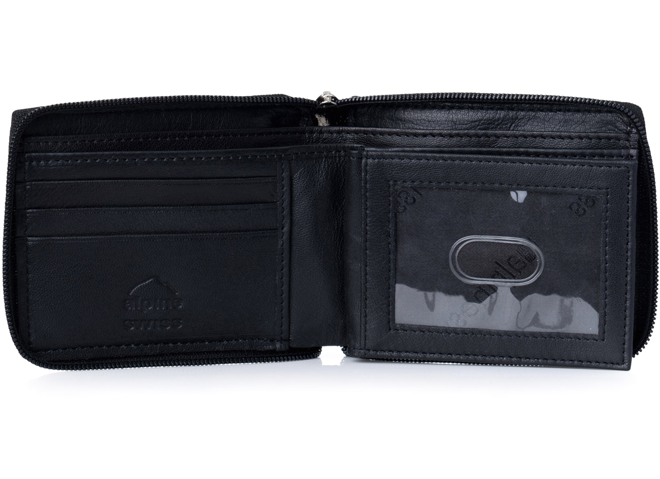 Alpine-Swiss-Mens-Leather-Zip-Around-Wallet-ID-Card-Window-Secure-Zipper-Bifold
