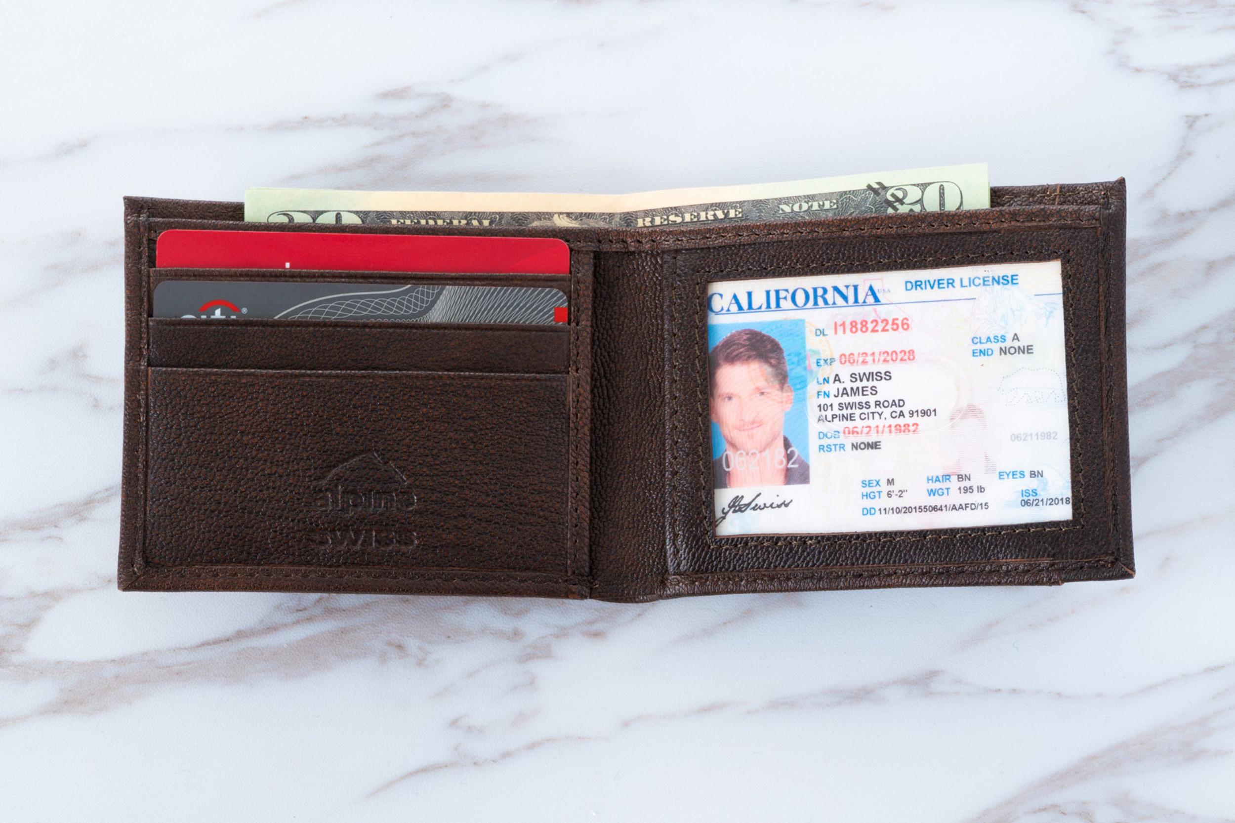 Alpine-Swiss-Mens-Thin-Bifold-Wallet-Top-Grain-Leather-EZ-Access-Outer-Card-Slot thumbnail 20