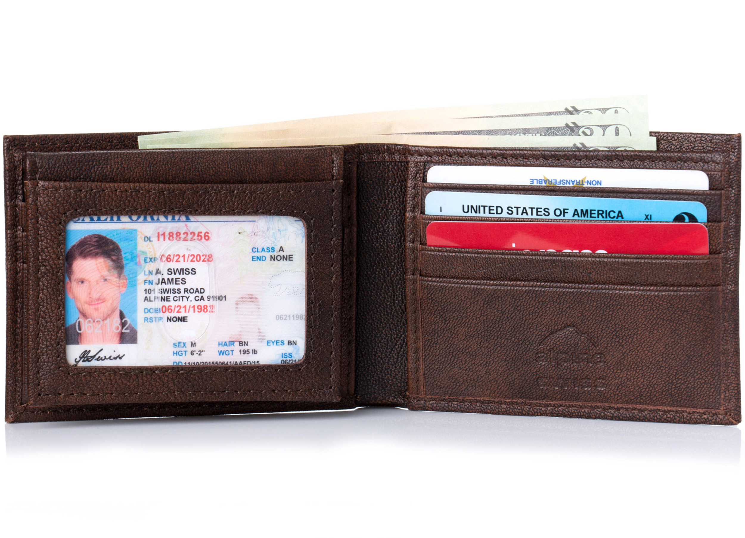 Alpine-Swiss-Mens-Wallet-Genuine-Leather-Removable-ID-Card-Case-Bifold-Passcase thumbnail 14