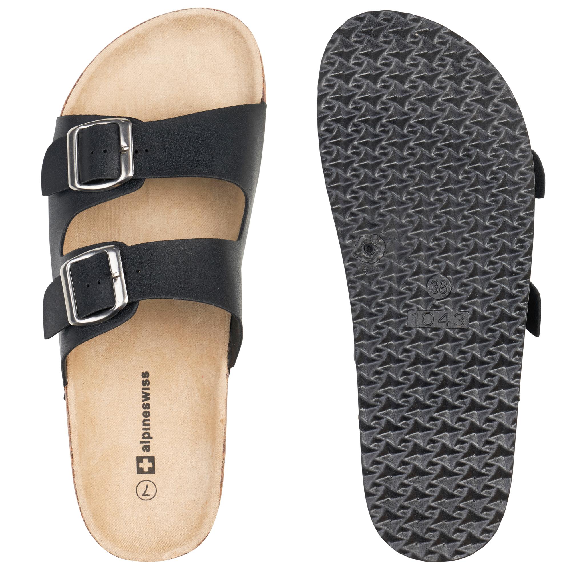 0cd986b381083f Alpine Swiss Womens Double Strap Slide Sandals EVA Sole Flat Comfort ...