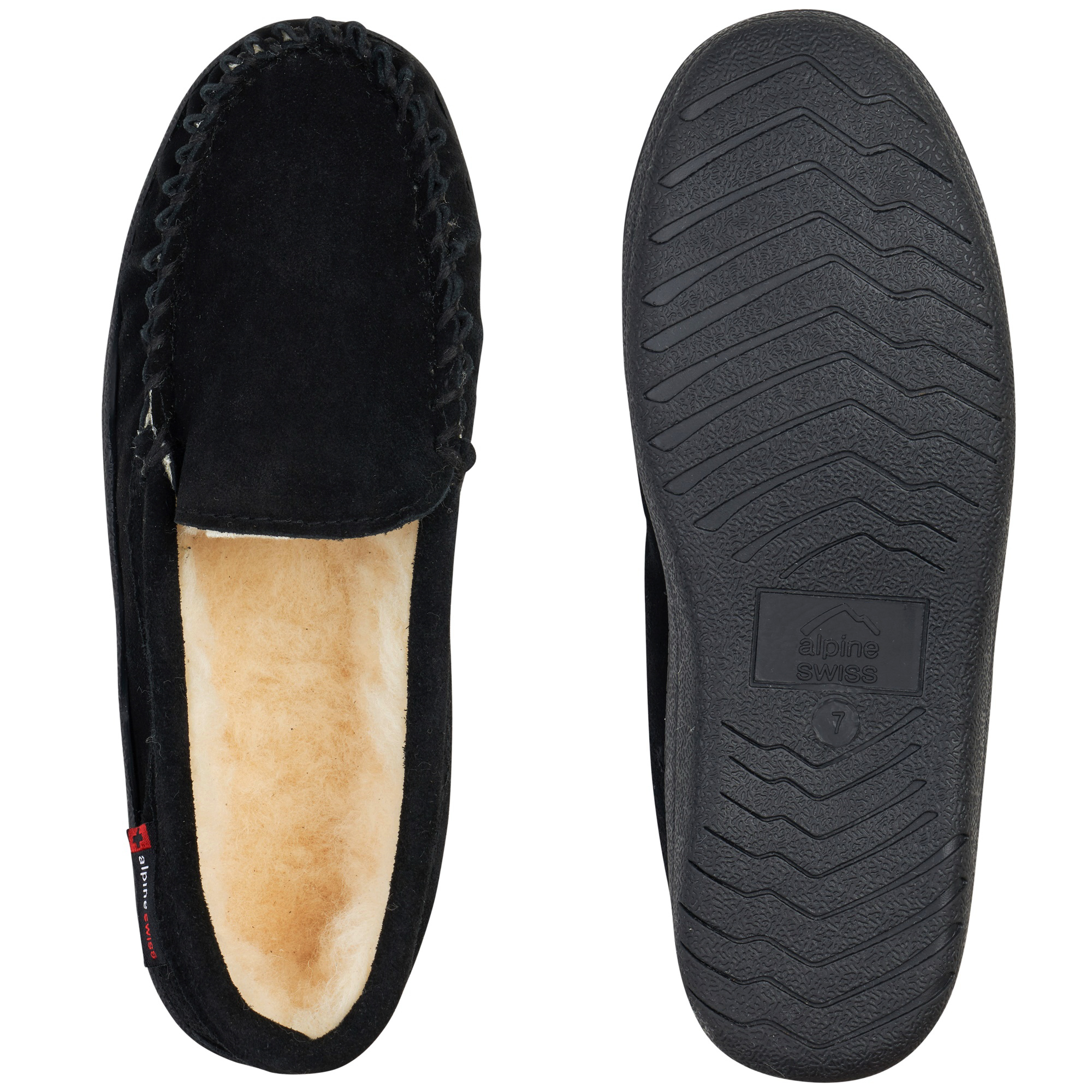 thumbnail 14 - Alpine-Swiss-Yukon-Mens-Suede-Shearling-Moccasin-Slippers-Moc-Toe-Slip-On-Shoes