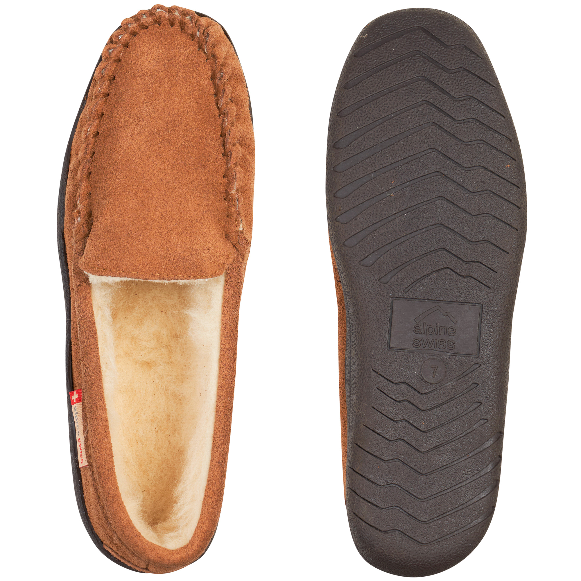 Alpine-Swiss-Yukon-Mens-Suede-Shearling-Moccasin-Slippers-Moc-Toe-Slip-On-Shoes thumbnail 22