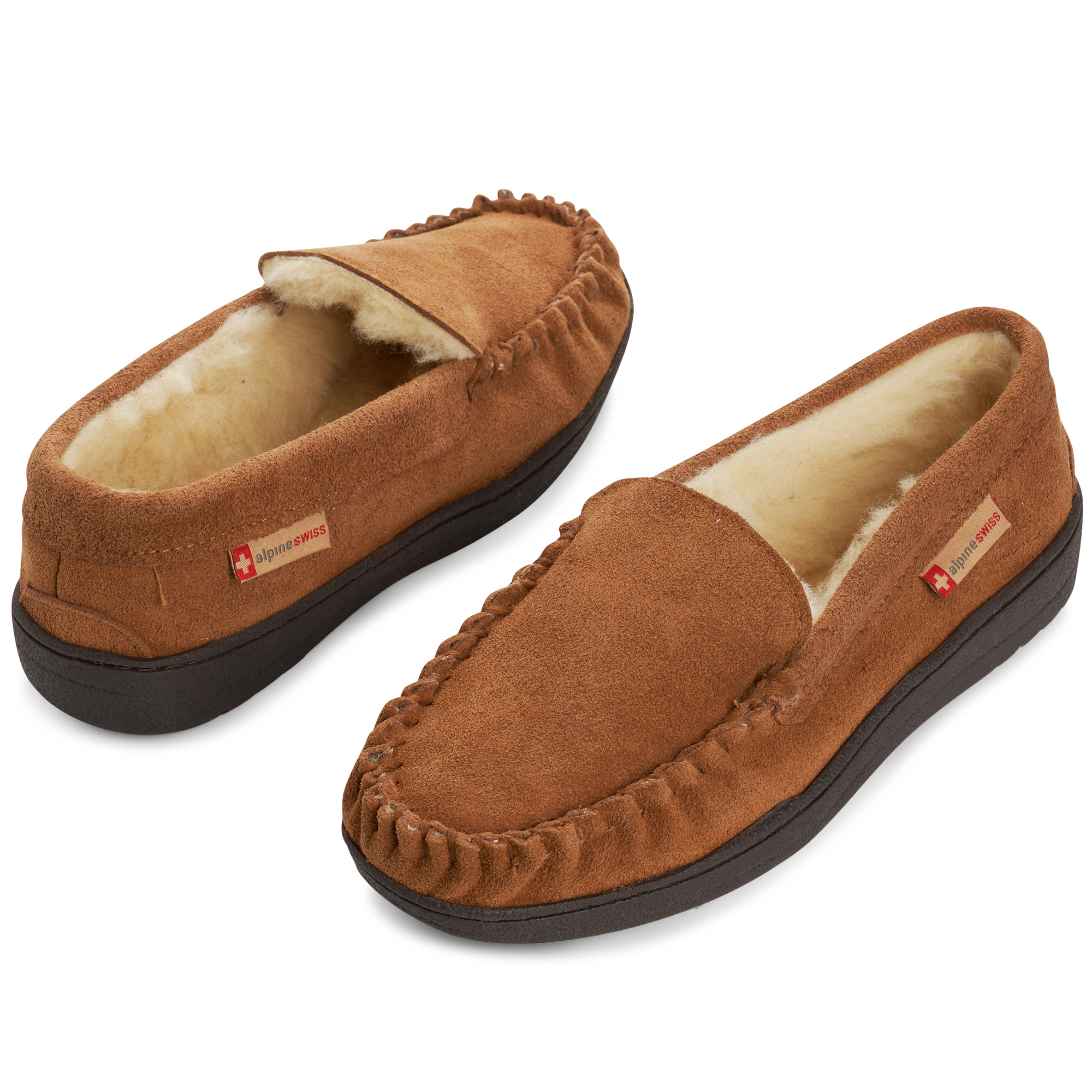 Alpine-Swiss-Yukon-Mens-Suede-Shearling-Moccasin-Slippers-Moc-Toe-Slip-On-Shoes thumbnail 21
