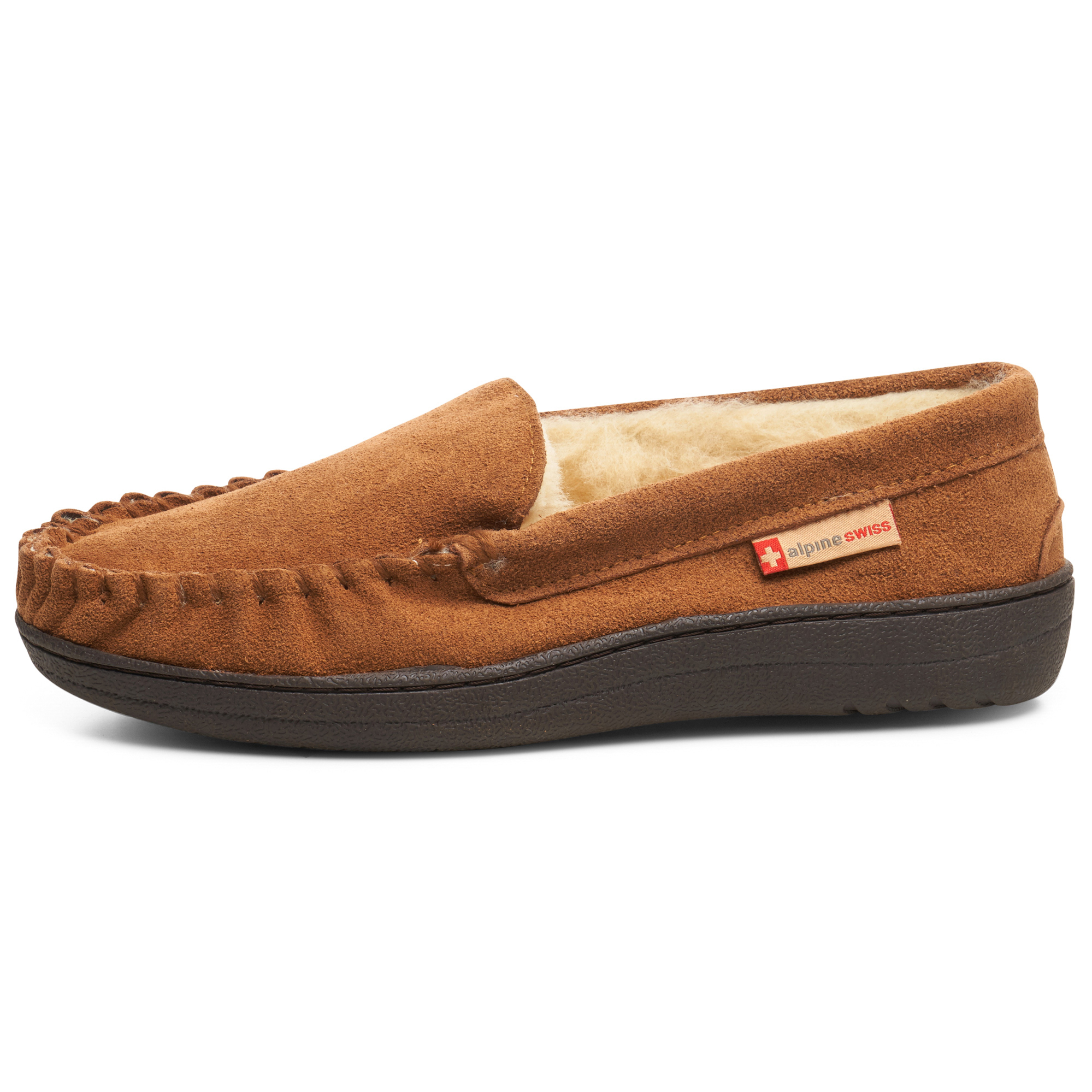 thumbnail 19 - Alpine-Swiss-Yukon-Mens-Suede-Shearling-Moccasin-Slippers-Moc-Toe-Slip-On-Shoes