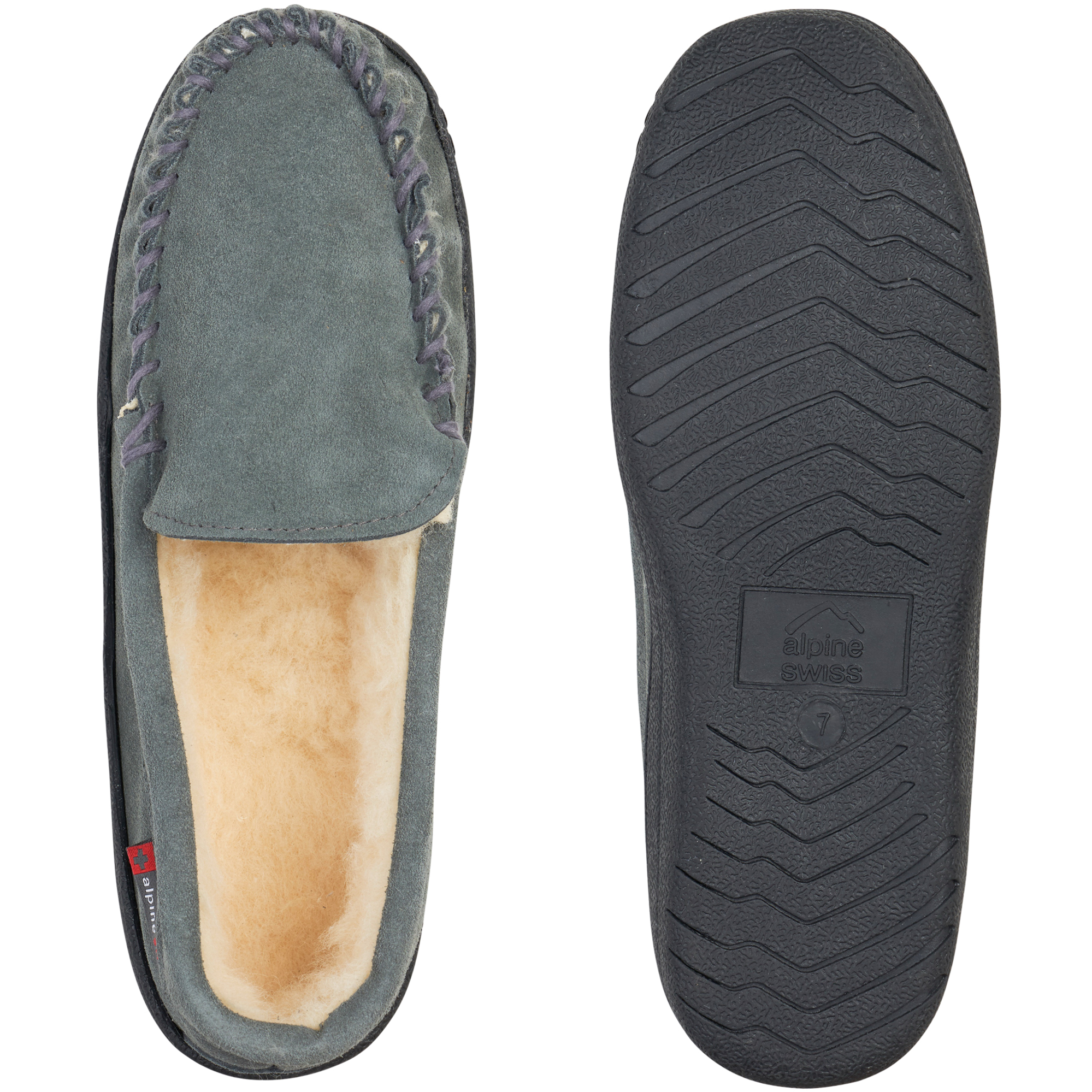 Alpine-Swiss-Yukon-Mens-Suede-Shearling-Moccasin-Slippers-Moc-Toe-Slip-On-Shoes thumbnail 31
