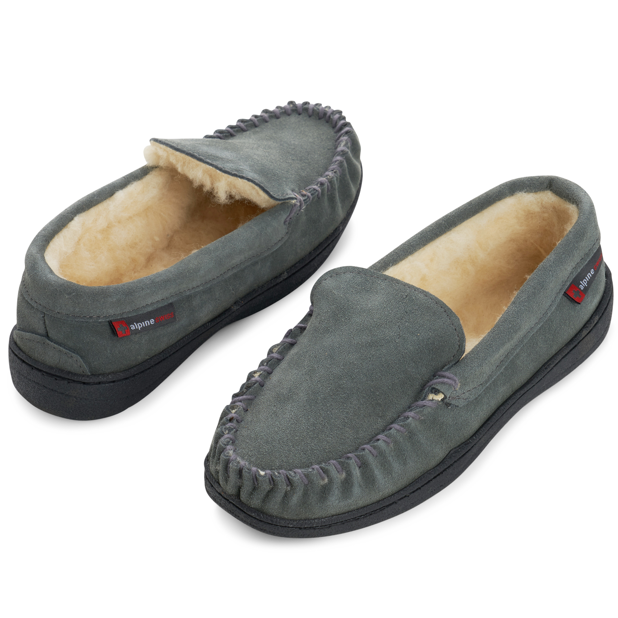 Alpine-Swiss-Yukon-Mens-Suede-Shearling-Moccasin-Slippers-Moc-Toe-Slip-On-Shoes thumbnail 30