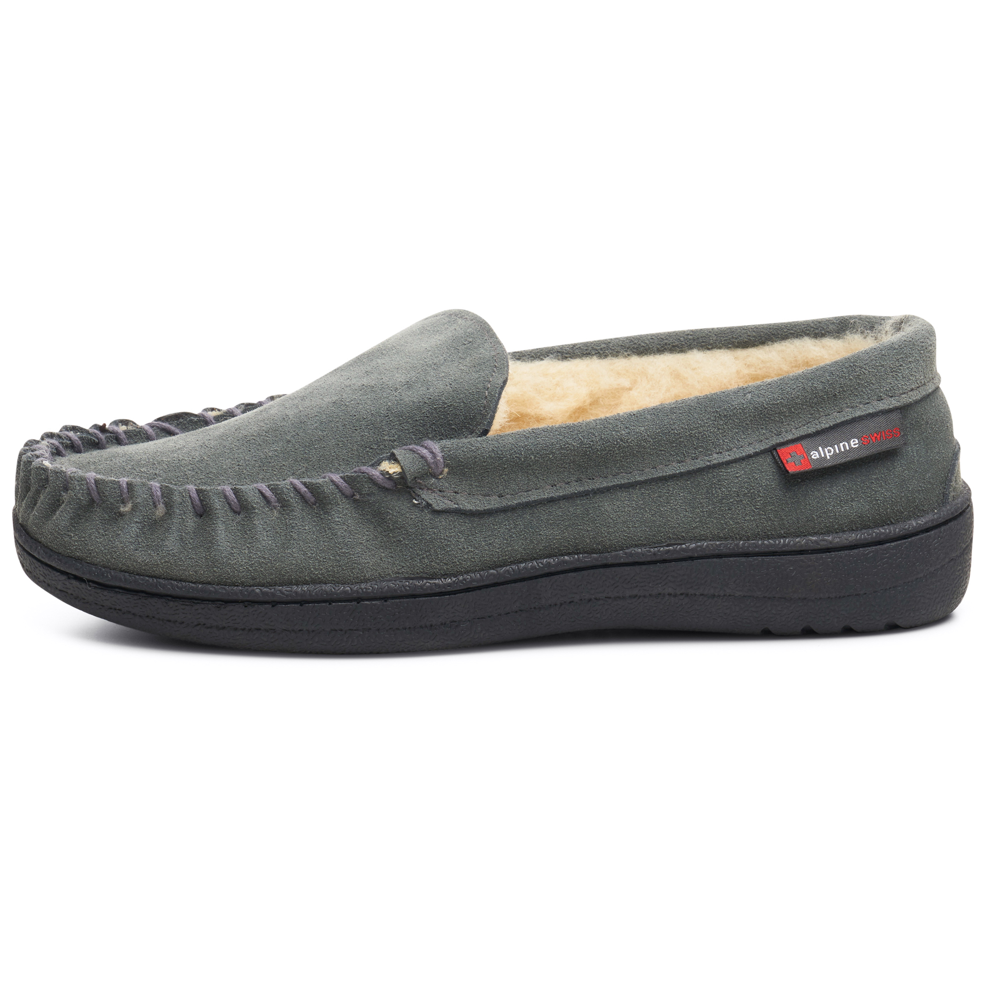 Alpine-Swiss-Yukon-Mens-Suede-Shearling-Moccasin-Slippers-Moc-Toe-Slip-On-Shoes thumbnail 29