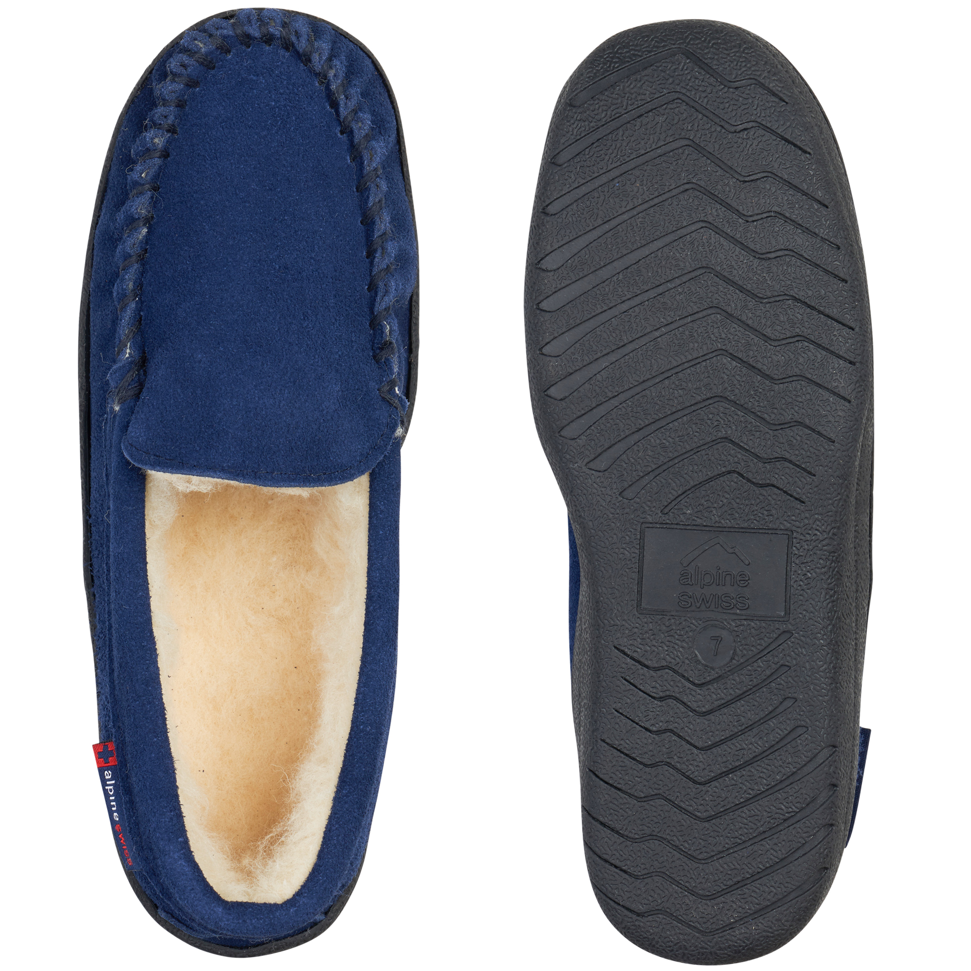 thumbnail 36 - Alpine-Swiss-Yukon-Mens-Suede-Shearling-Moccasin-Slippers-Moc-Toe-Slip-On-Shoes