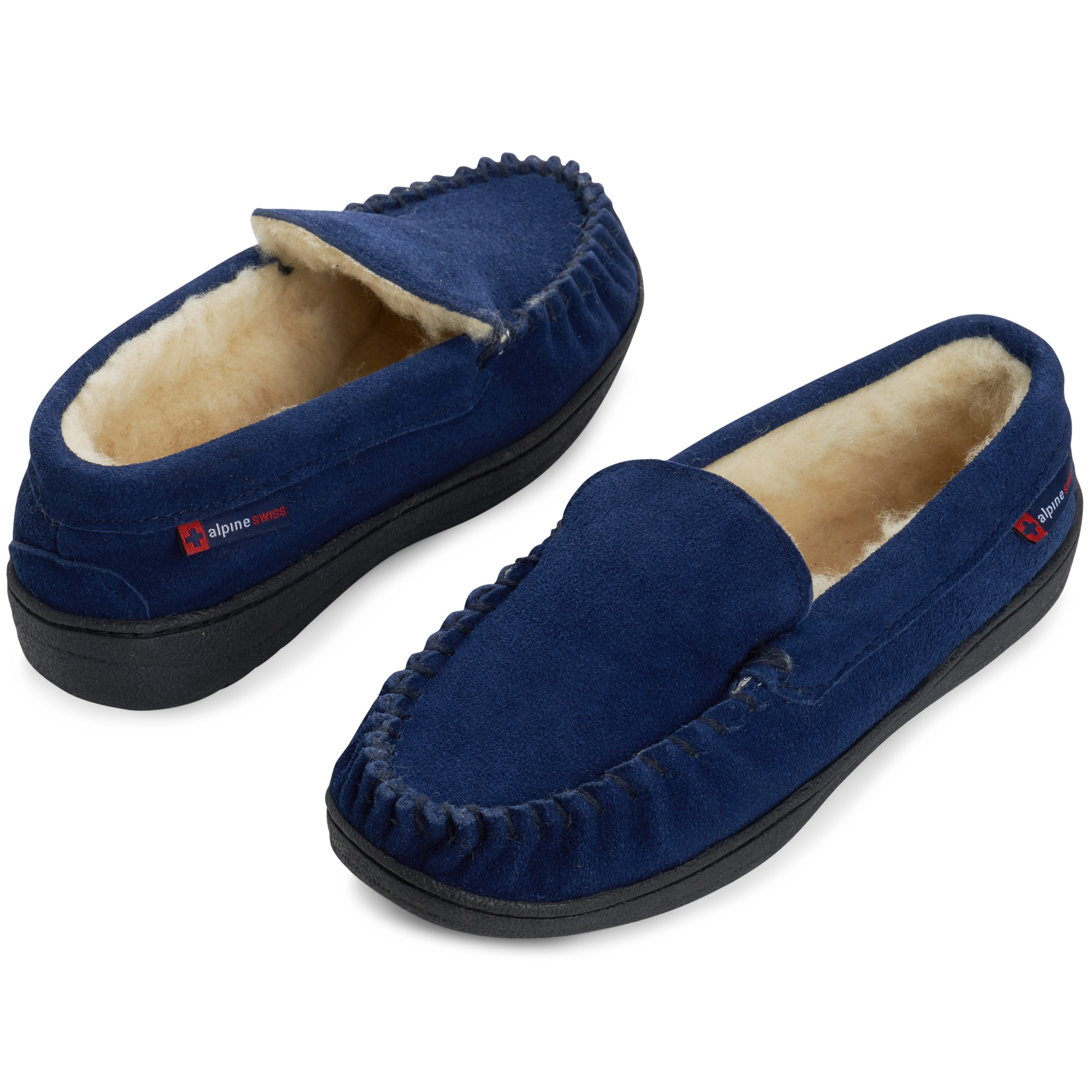 Alpine-Swiss-Yukon-Mens-Suede-Shearling-Moccasin-Slippers-Moc-Toe-Slip-On-Shoes thumbnail 36