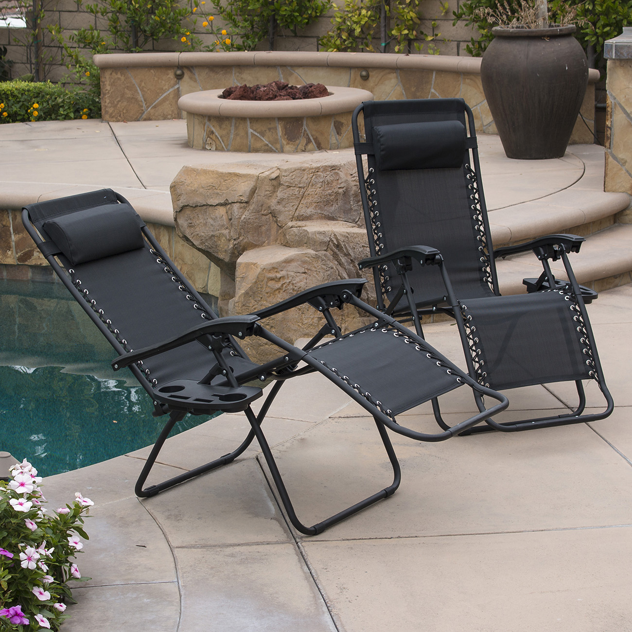 2 Folding Zero Gravity Reclining Lounge Chairs Utility Tray Outdoor