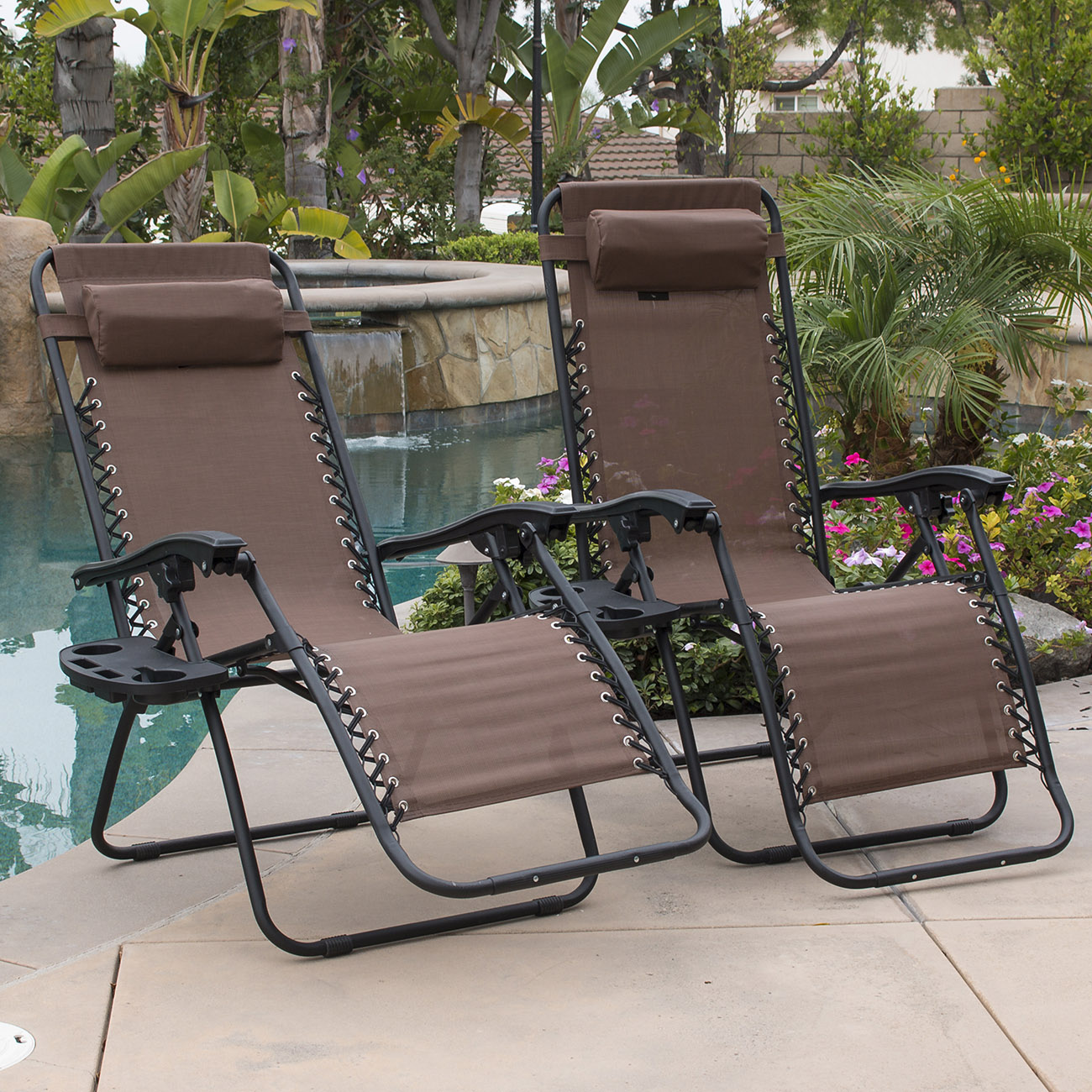 Lawn Chair 40 Oz: 2PC Brown Zero Gravity Lounge Chairs Recliner Outdoor